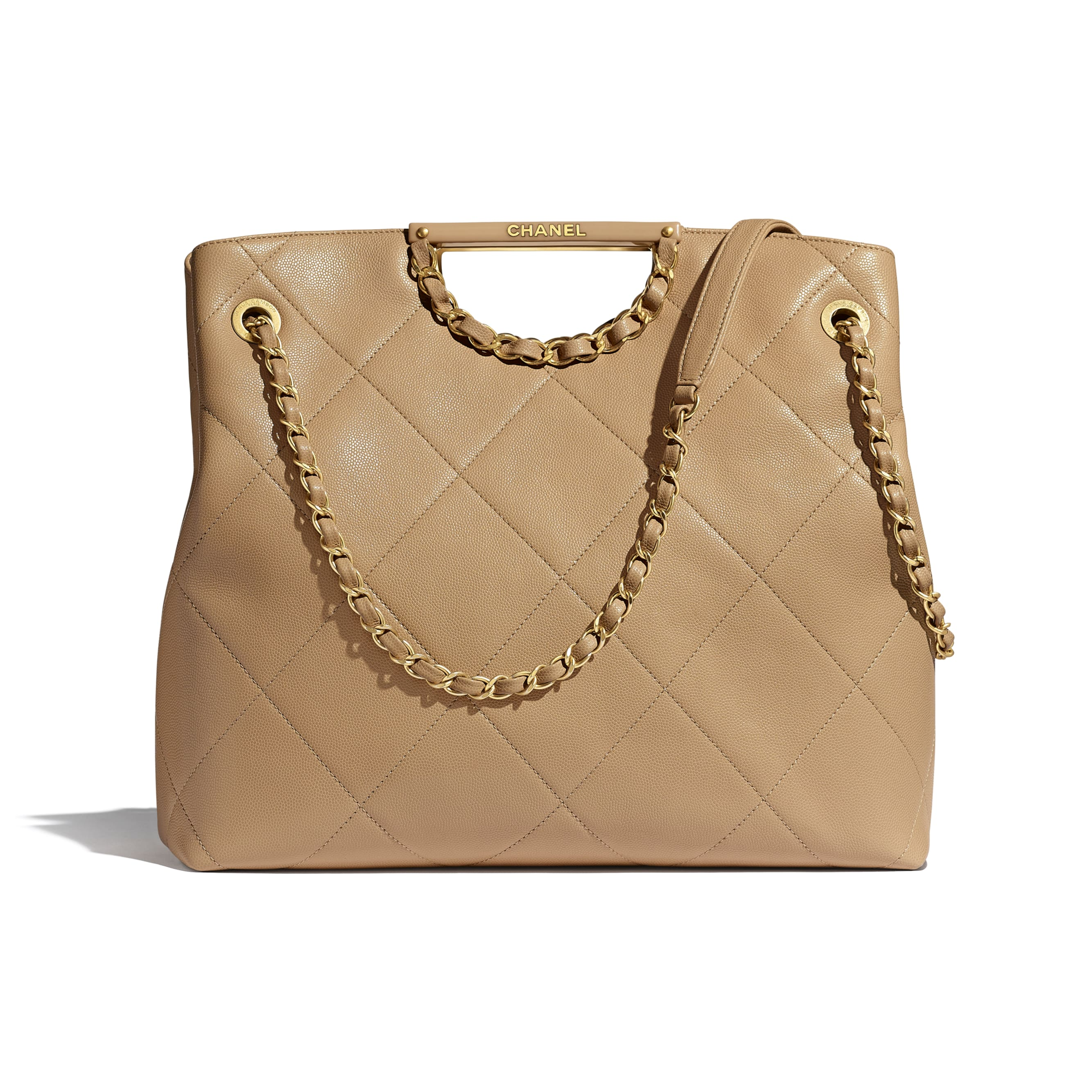 Large Tote - Beige - Grained Calfskin & Gold-Tone Metal - CHANEL - Default view - see standard sized version