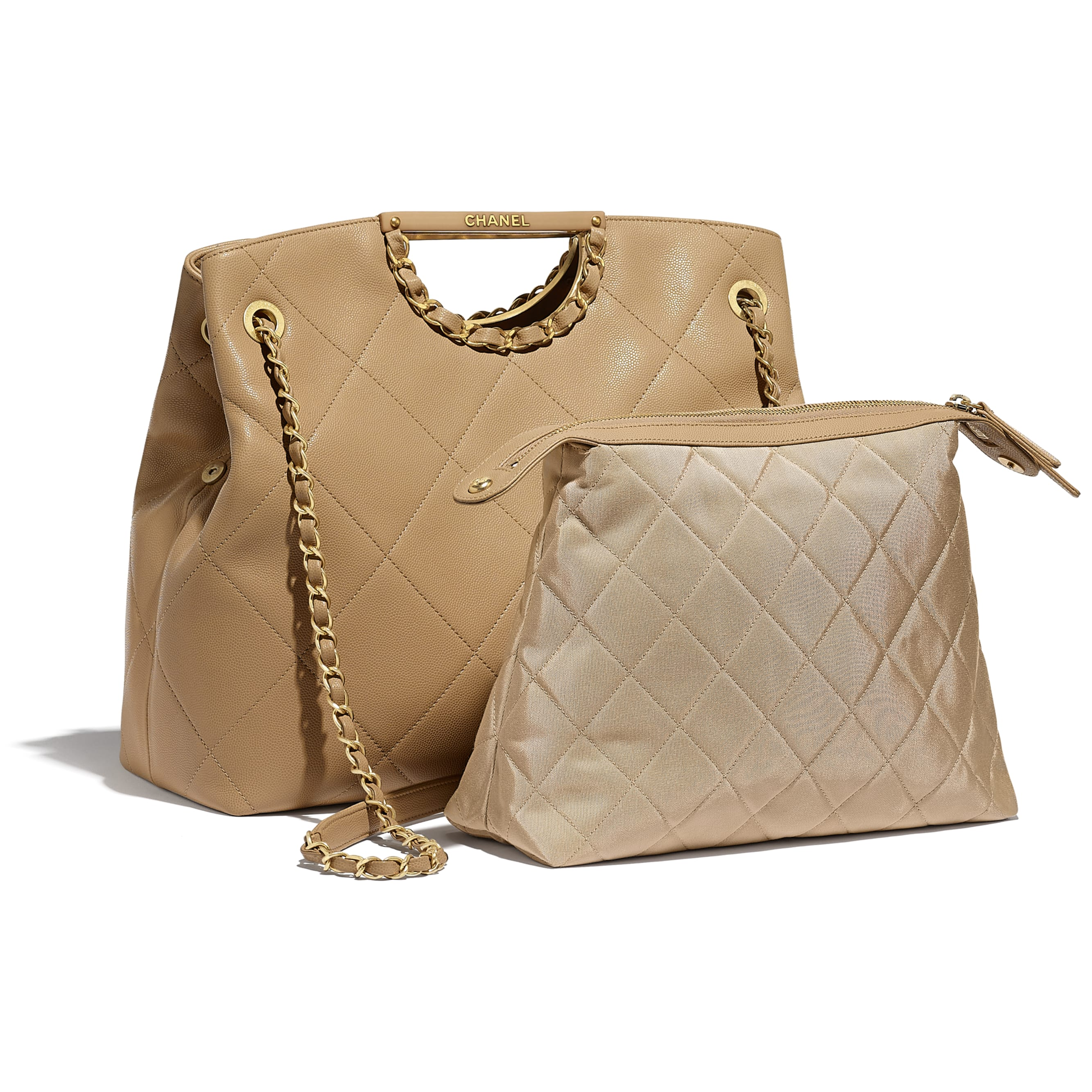 Large Tote - Beige - Grained Calfskin & Gold-Tone Metal - CHANEL - Extra view - see standard sized version