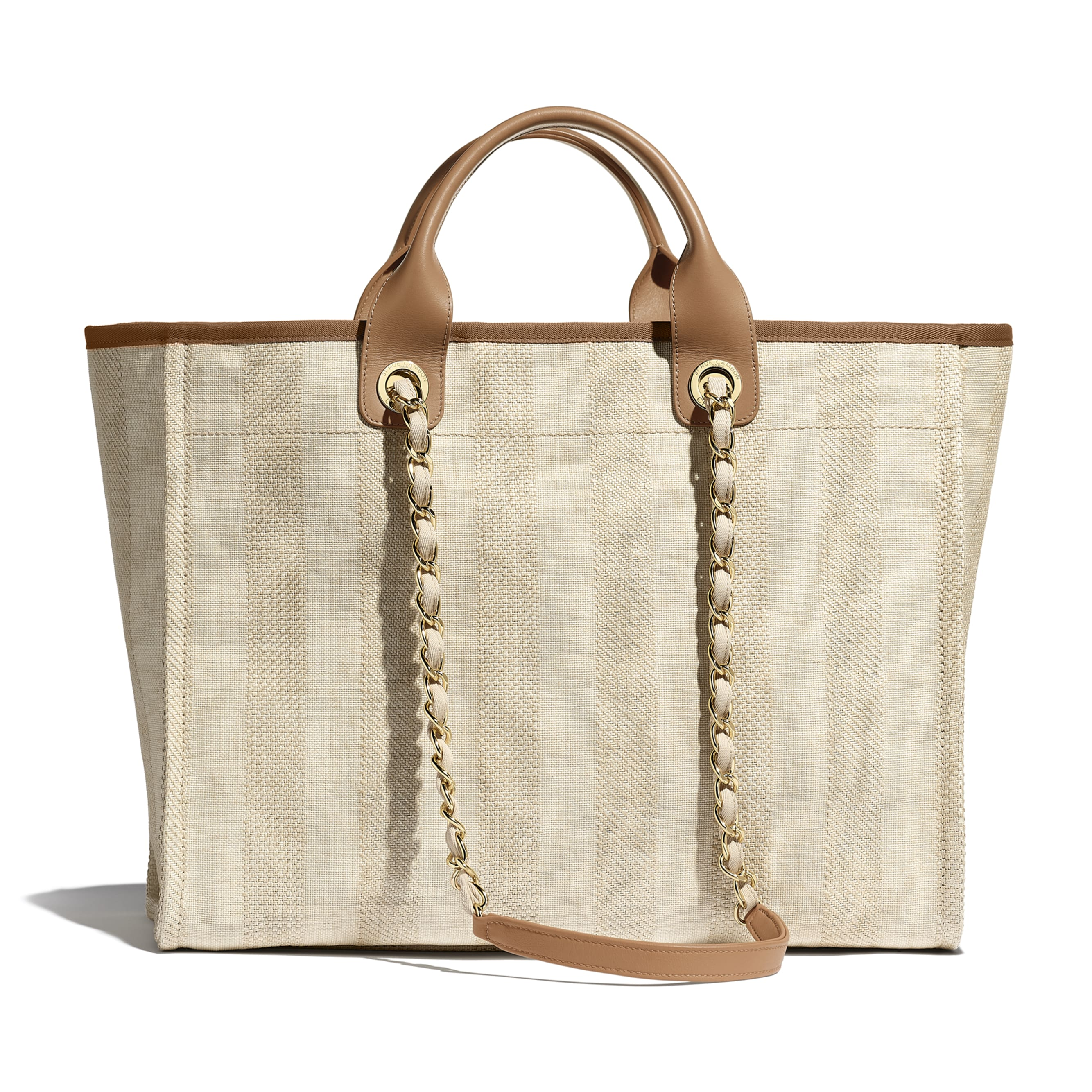 Large Tote - Beige - Mixed Fibres, Calfskin & Gold-Tone Metal - CHANEL - Alternative view - see standard sized version