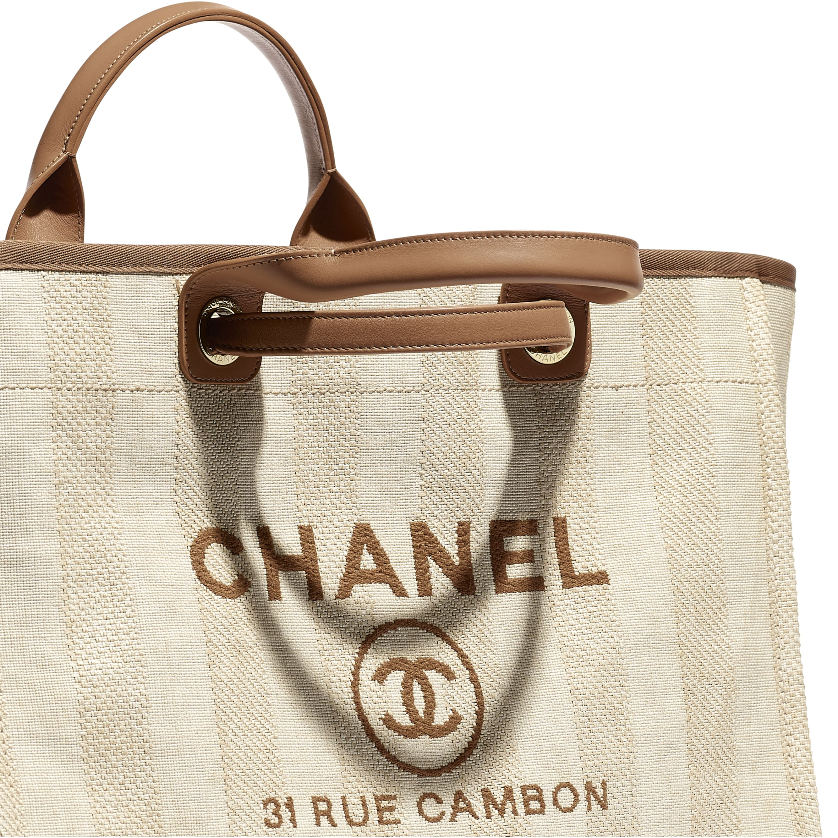 Large Tote - Beige - Mixed Fibres, Calfskin & Gold-Tone Metal - CHANEL - Extra view - see standard sized version
