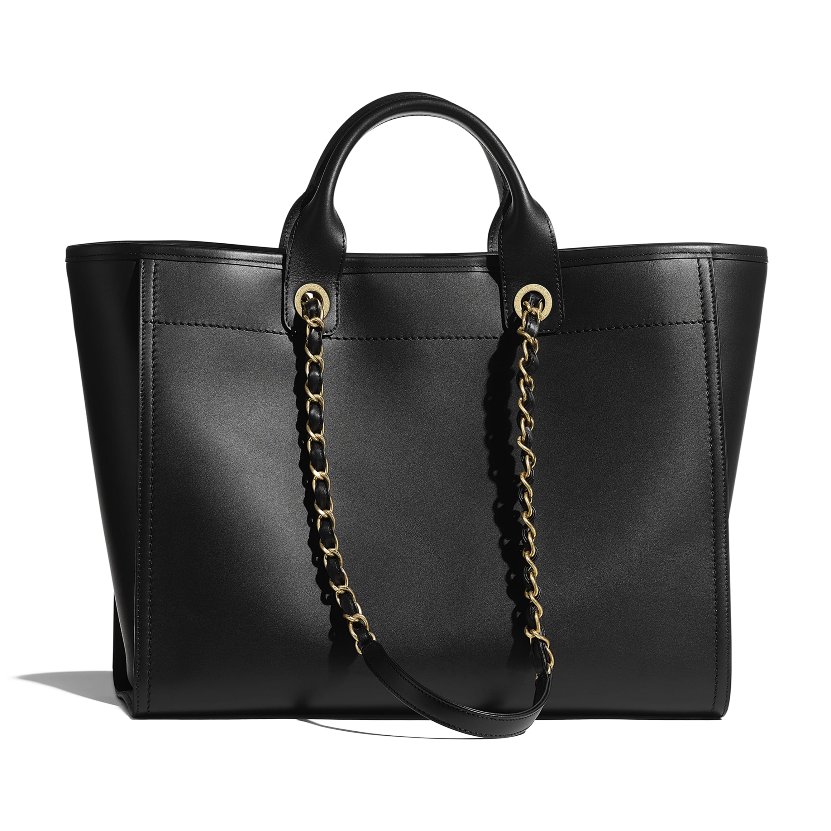 Large Tote - Black - Calfskin & Gold-Tone Metal - CHANEL - Alternative view - see standard sized version