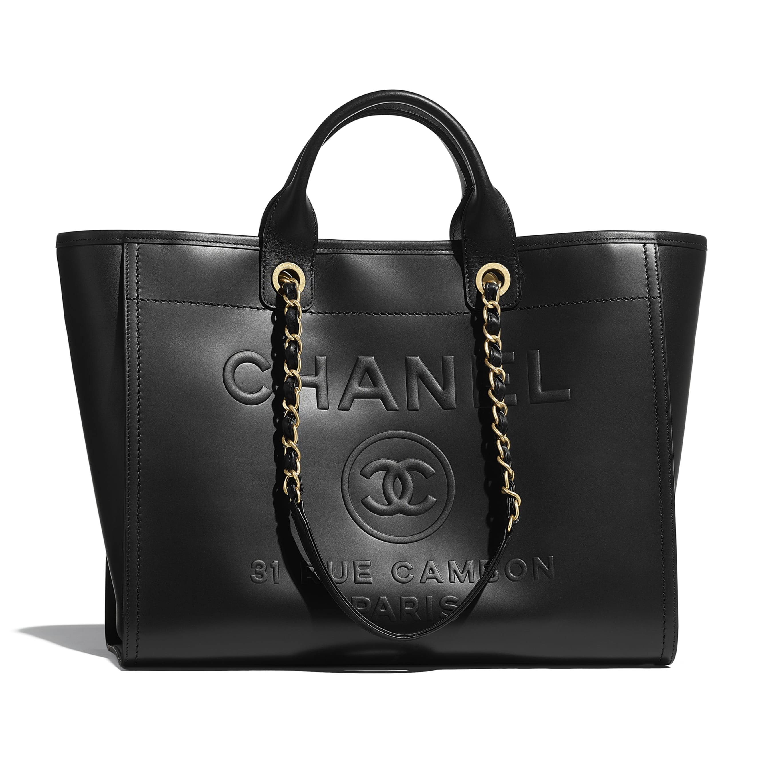 Large Tote - Black - Calfskin & Gold-Tone Metal - CHANEL - Default view - see standard sized version