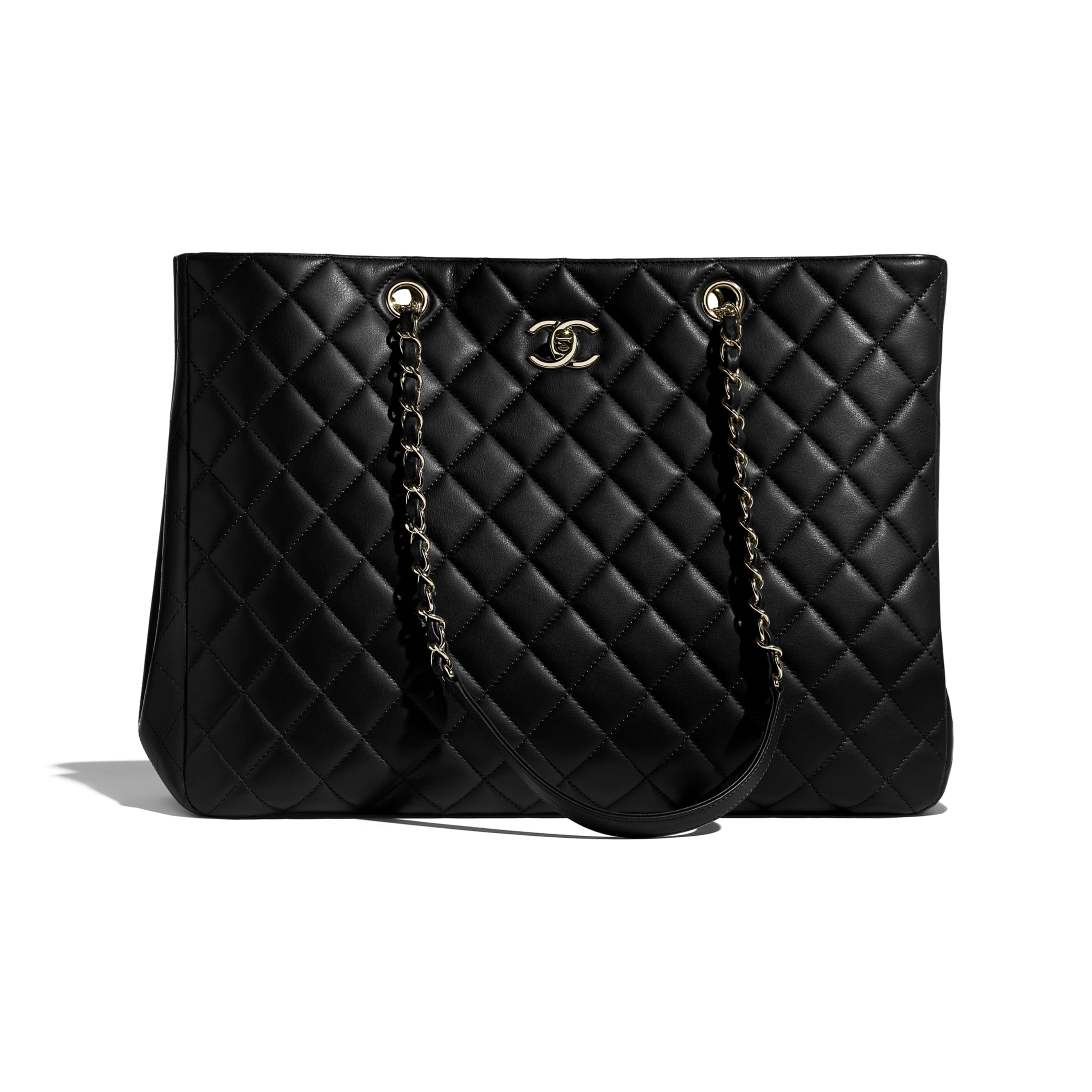 Large Shopping Bag - Black - Calfskin & Gold-Tone Metal - CHANEL - Default view - see standard sized version