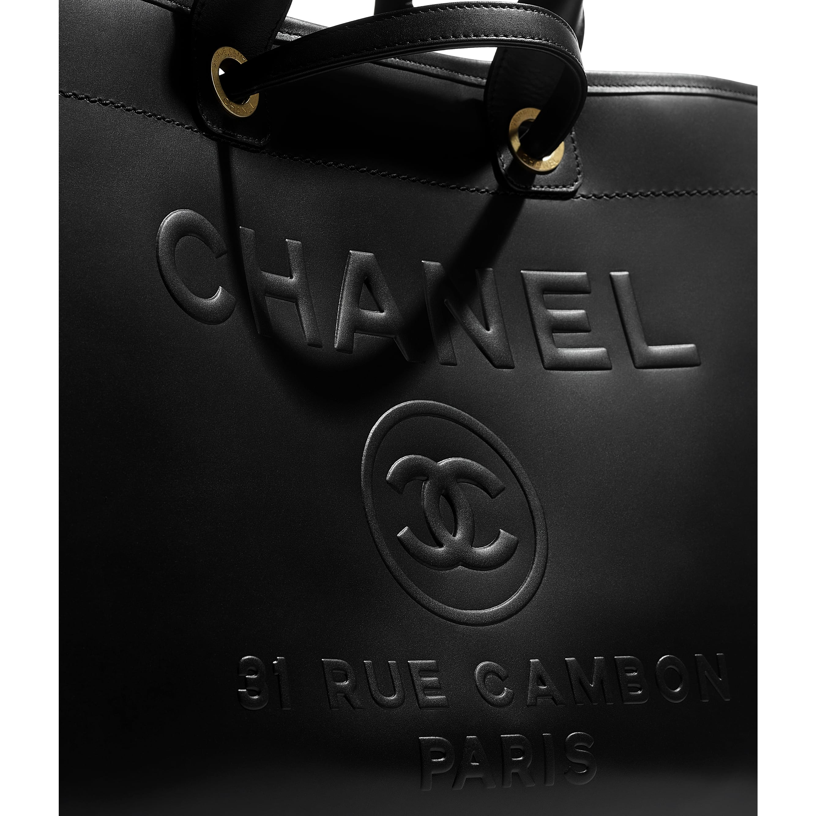 Large Tote - Black - Calfskin & Gold-Tone Metal - CHANEL - Extra view - see standard sized version