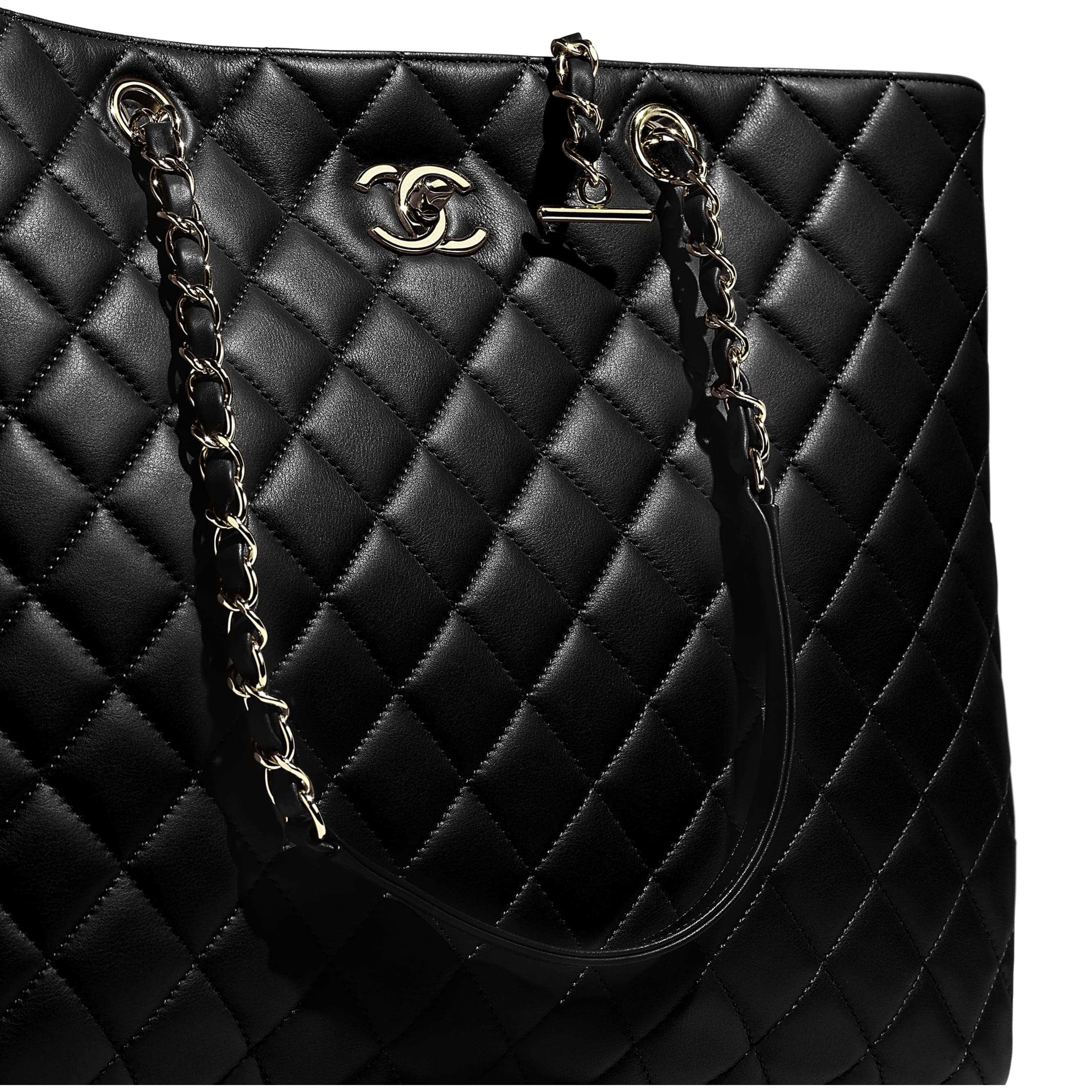 Large Shopping Bag - Black - Calfskin & Gold-Tone Metal - CHANEL - Extra view - see standard sized version