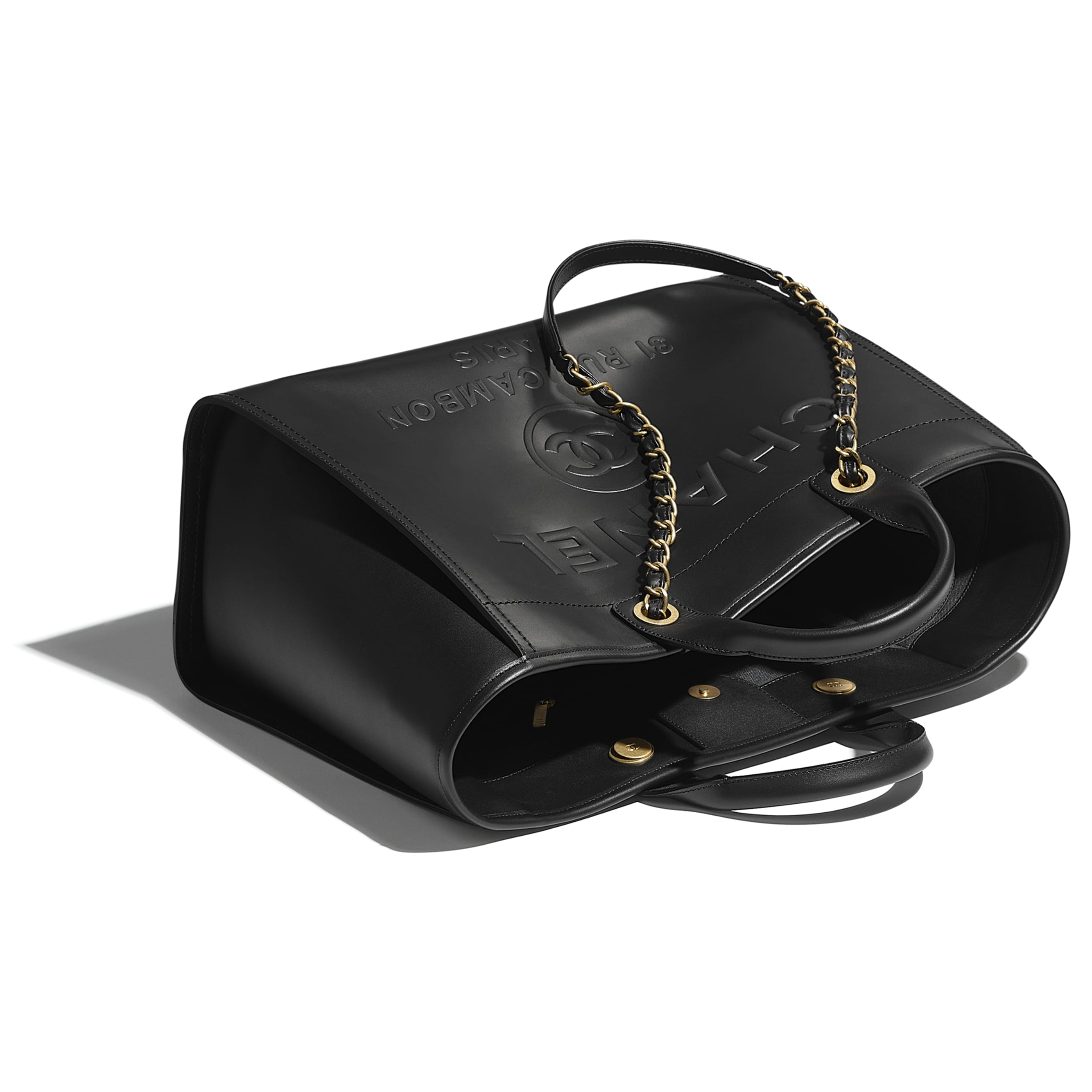 Large Tote - Black - Calfskin & Gold-Tone Metal - CHANEL - Other view - see standard sized version