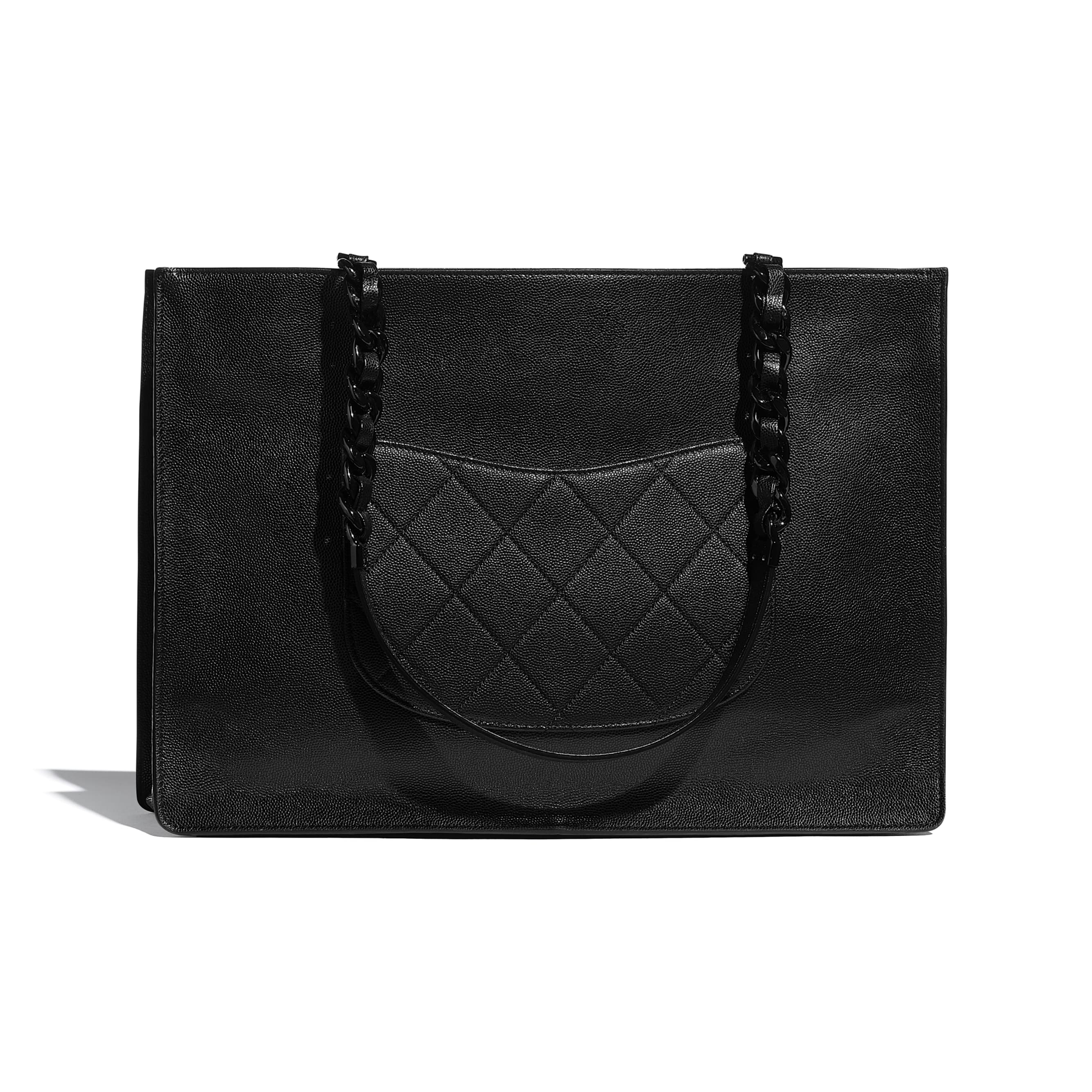 Large Tote - Black - Grained Calfskin & Lacquered Metal - CHANEL - Alternative view - see standard sized version