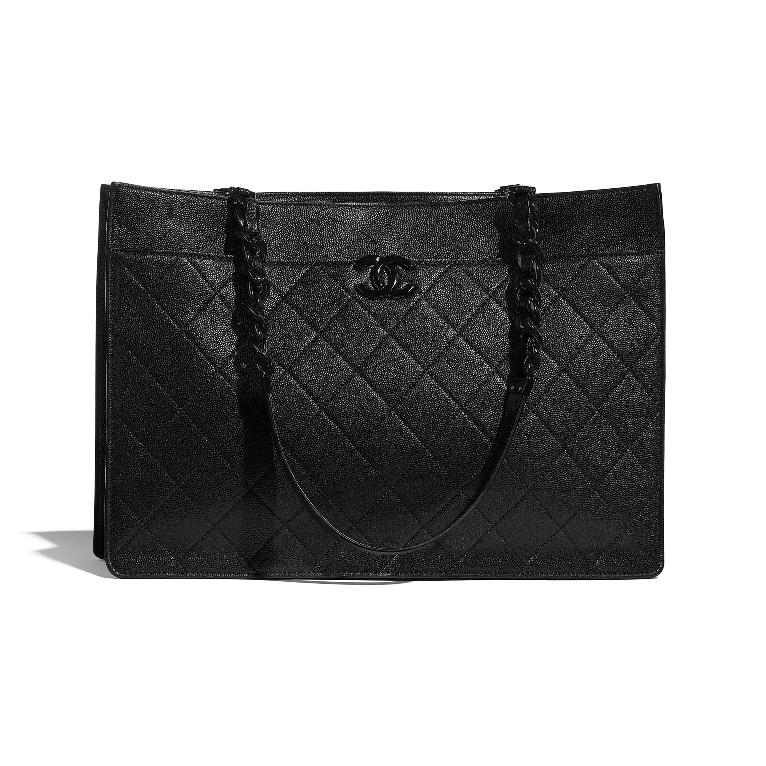 Large Tote - Black - Grained Calfskin & Lacquered Metal - CHANEL - Default view - see standard sized version