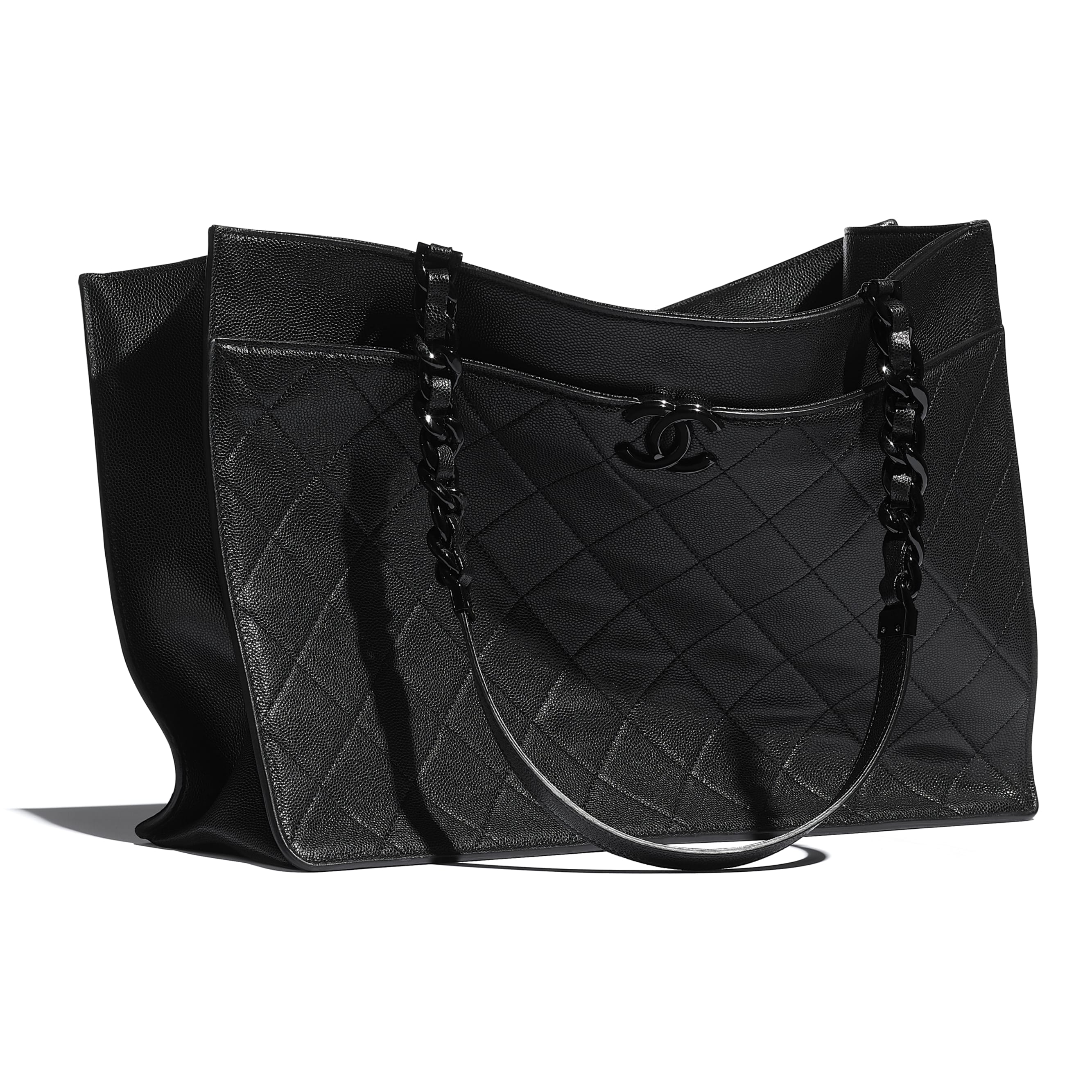 Large Tote - Black - Grained Calfskin & Lacquered Metal - CHANEL - Extra view - see standard sized version