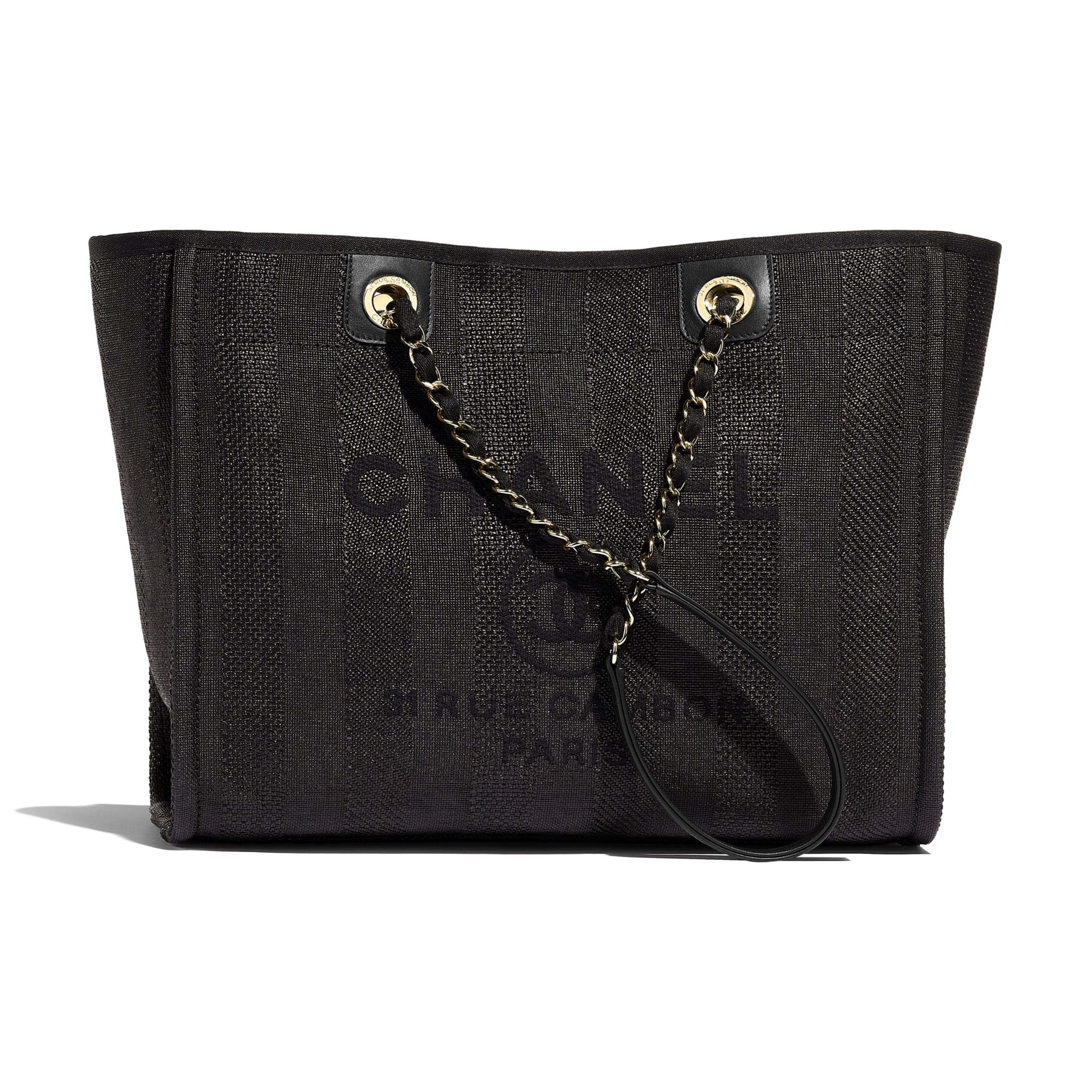 Large Tote - Black - Mixed Fibres, Calfskin & Gold-Tone Metal - Default view - see standard sized version