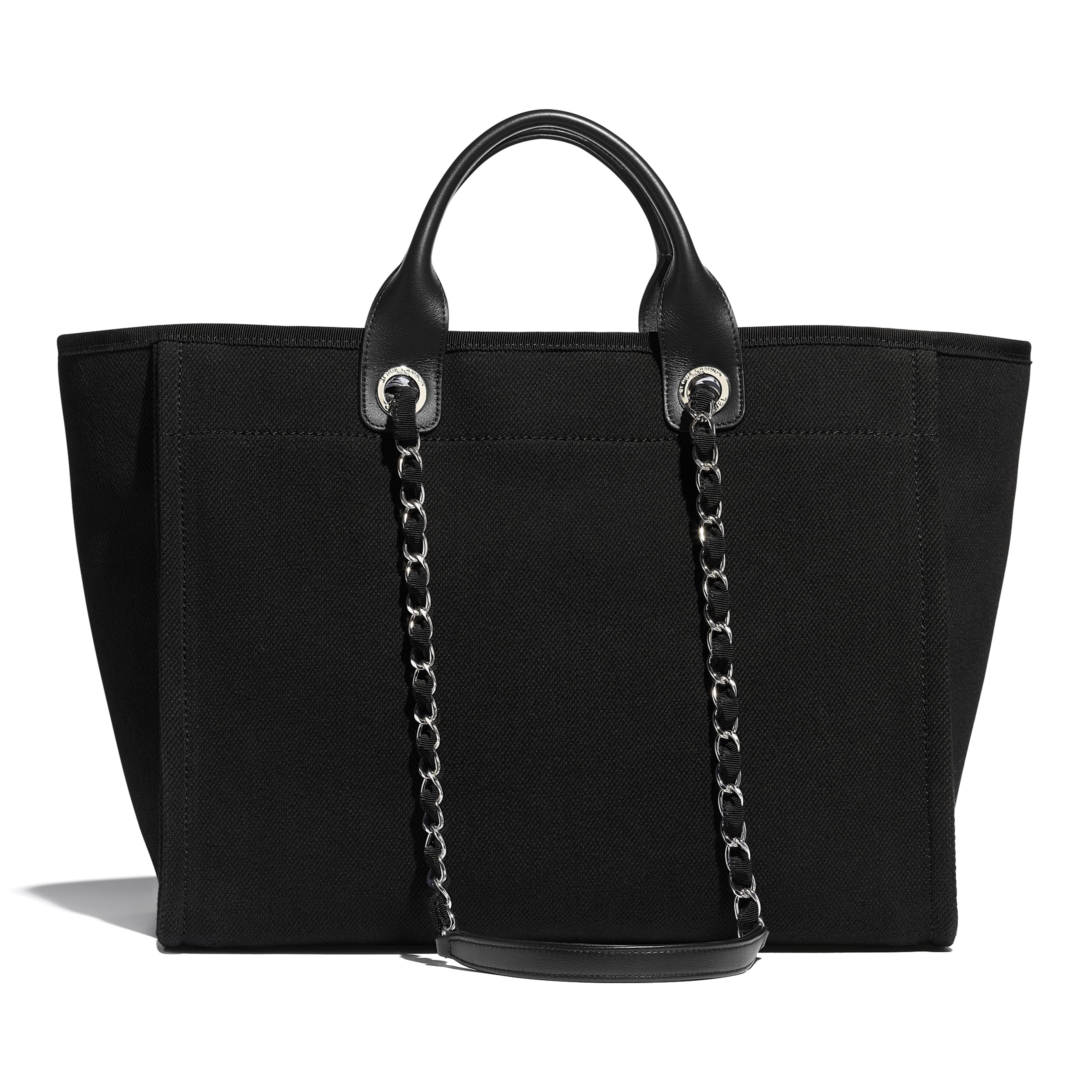 Large Tote - Black - Mixed Fibers, Imitation Pearls, Silver-Tone Metal - CHANEL - Alternative view - see standard sized version