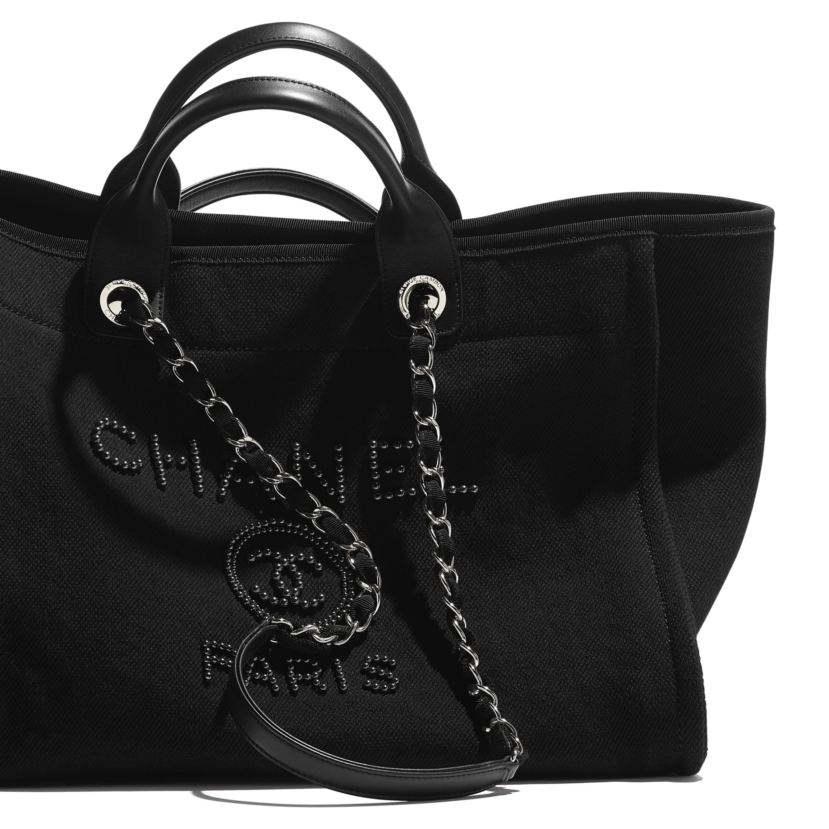 Large Tote - Black - Mixed Fibers, Imitation Pearls, Silver-Tone Metal - CHANEL - Extra view - see standard sized version