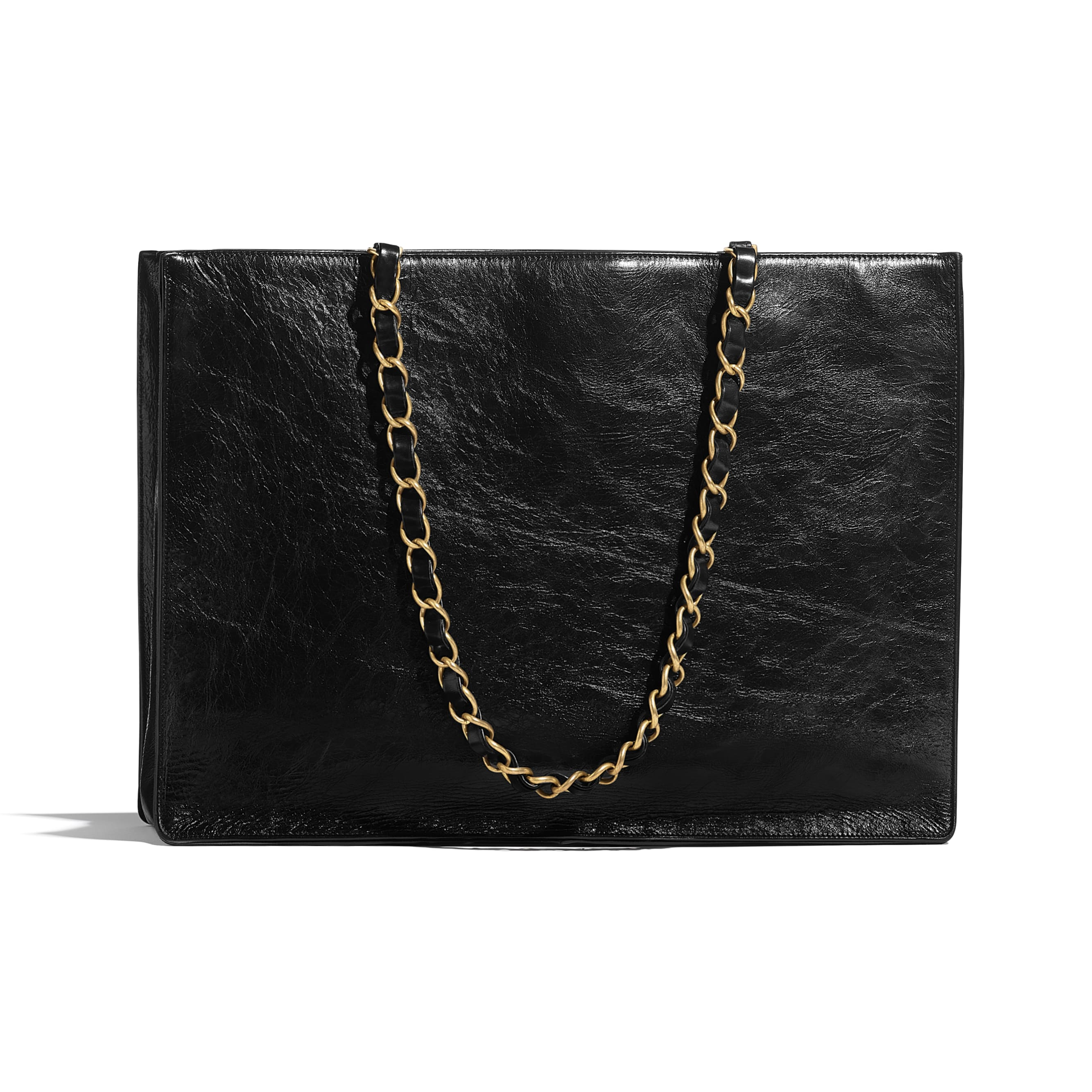 Large Shopping Bag - Black - Shiny Aged Calfskin & Gold-Tone Metal - CHANEL - Alternative view - see standard sized version