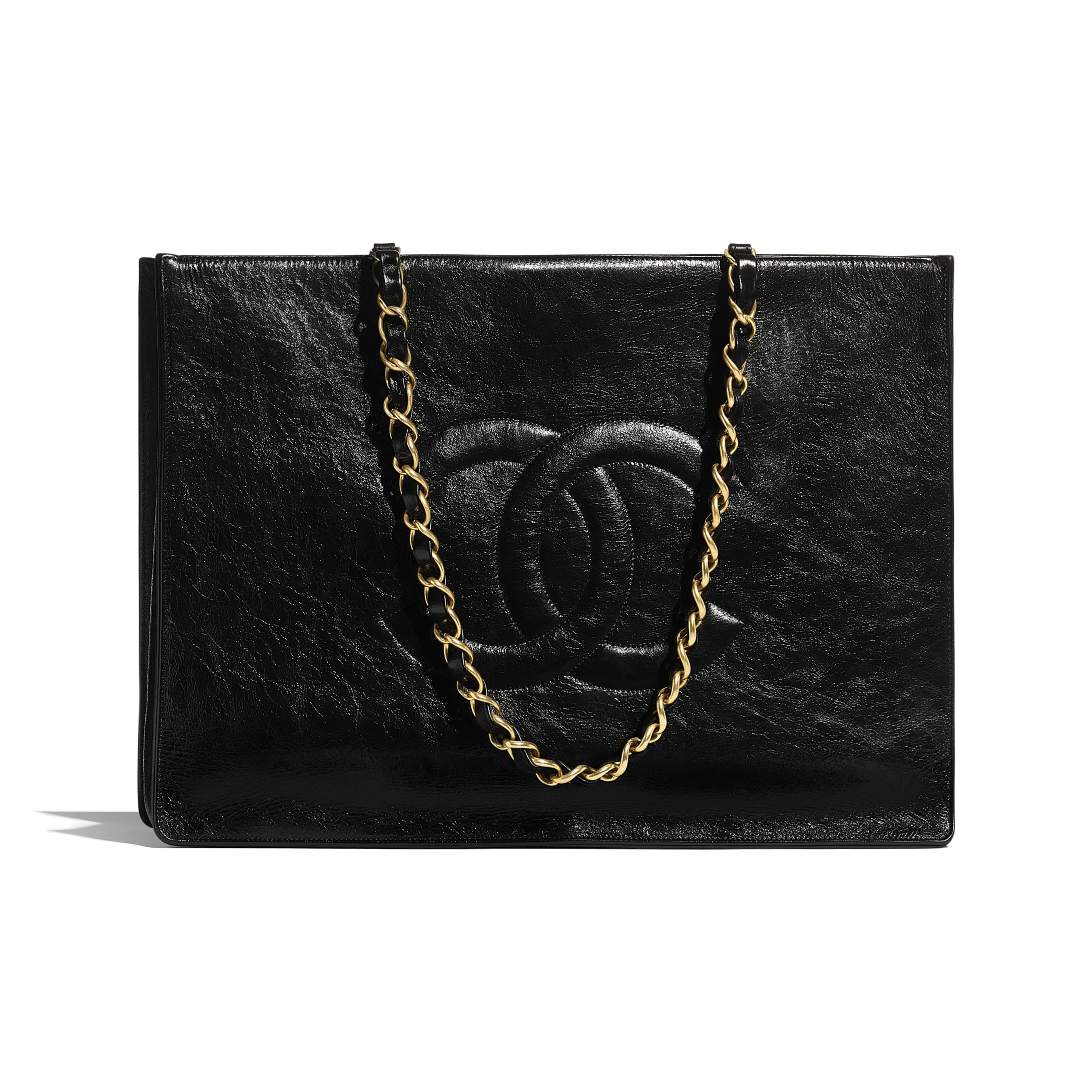 Large Shopping Bag - Black - Shiny Aged Calfskin & Gold-Tone Metal - CHANEL - Default view - see standard sized version
