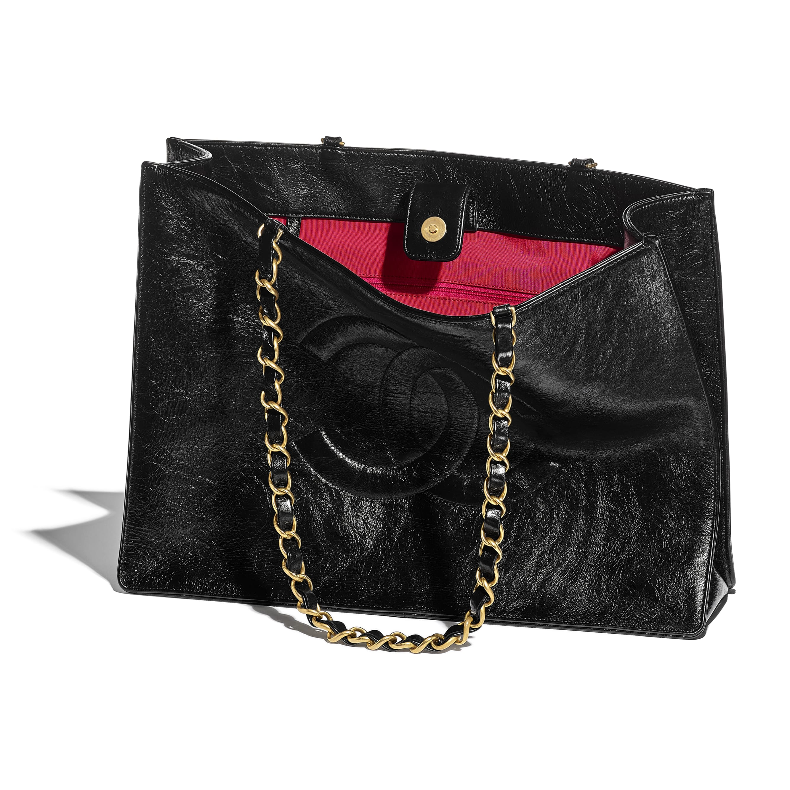 Large Shopping Bag - Black - Shiny Aged Calfskin & Gold-Tone Metal - CHANEL - Other view - see standard sized version