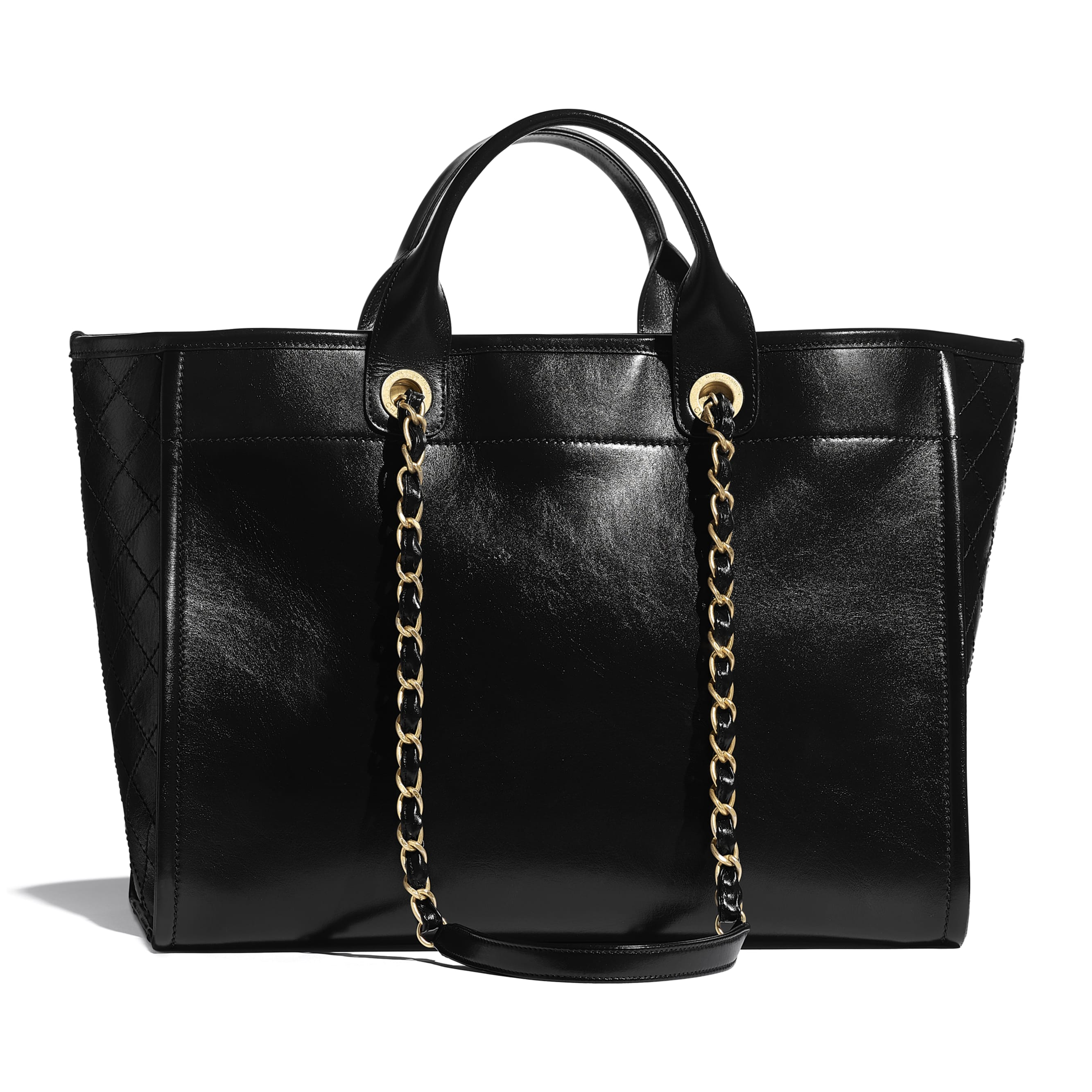 Large Tote - Black - Shiny Calfskin, Crystal Pearls, Diamante, Enamel, Gold-Tone & Ruthenium-Finish Metal - CHANEL - Alternative view - see standard sized version