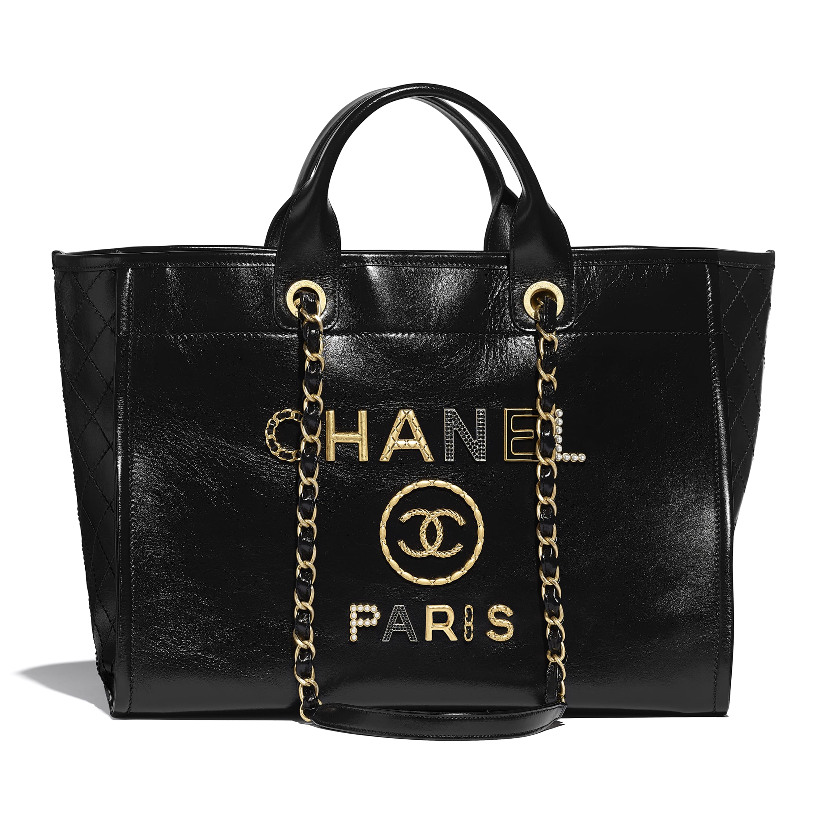Large Tote - Black - Shiny Calfskin, Crystal Pearls, Diamante, Enamel, Gold-Tone & Ruthenium-Finish Metal - CHANEL - Default view - see standard sized version