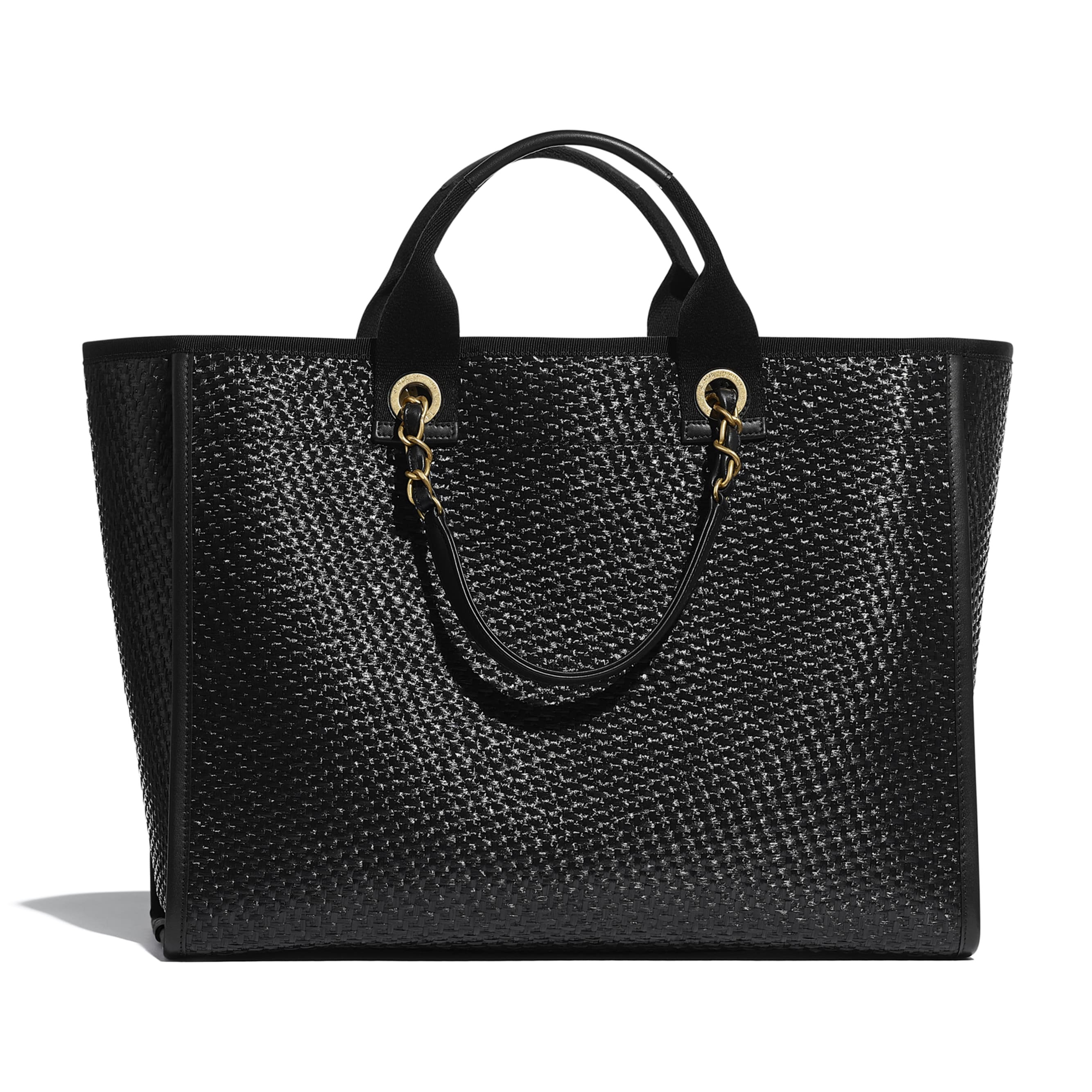 Large Tote - Black - Straw, Calfskin & Gold Metal - CHANEL - Alternative view - see standard sized version