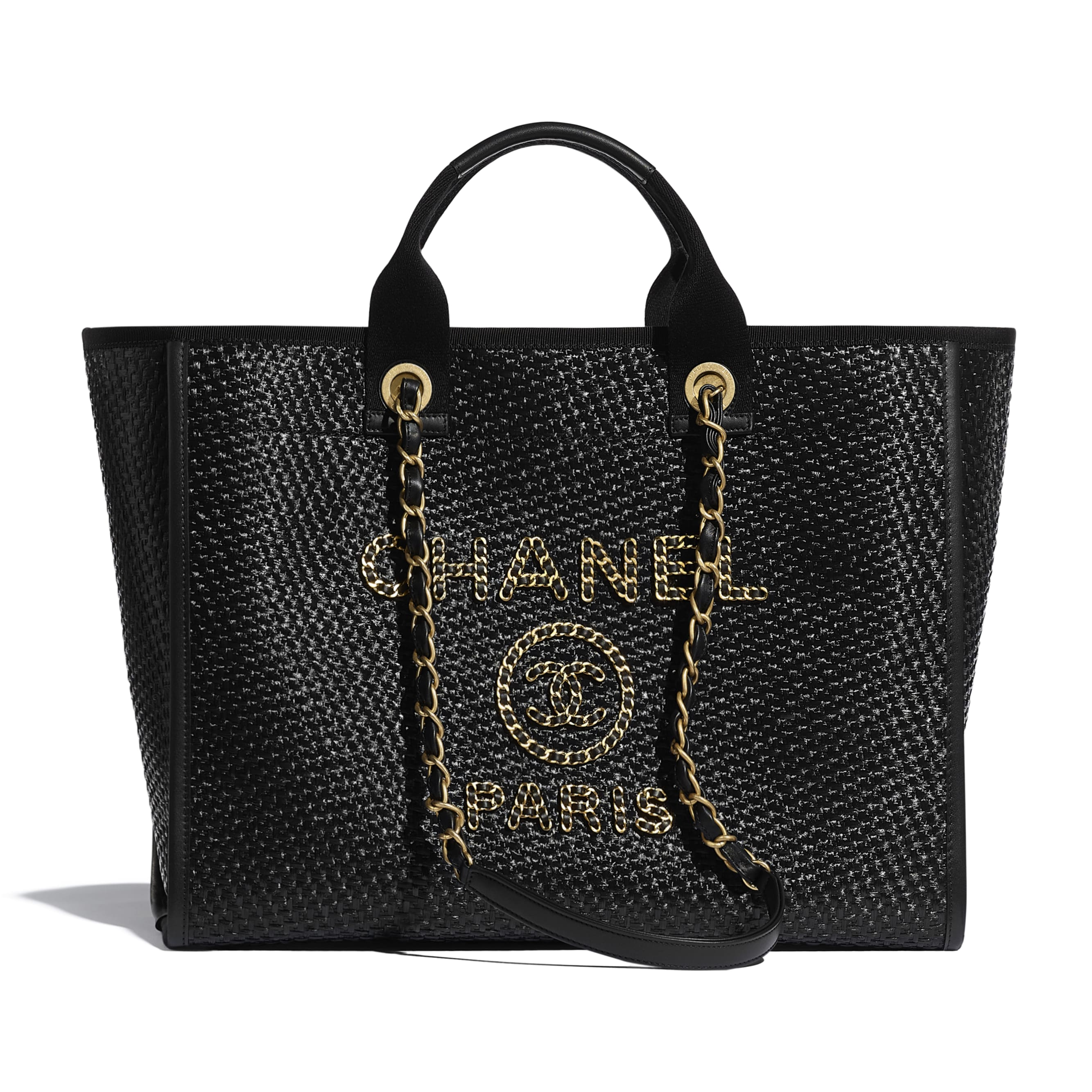 Large Tote - Black - Straw, Calfskin & Gold Metal - CHANEL - Default view - see standard sized version