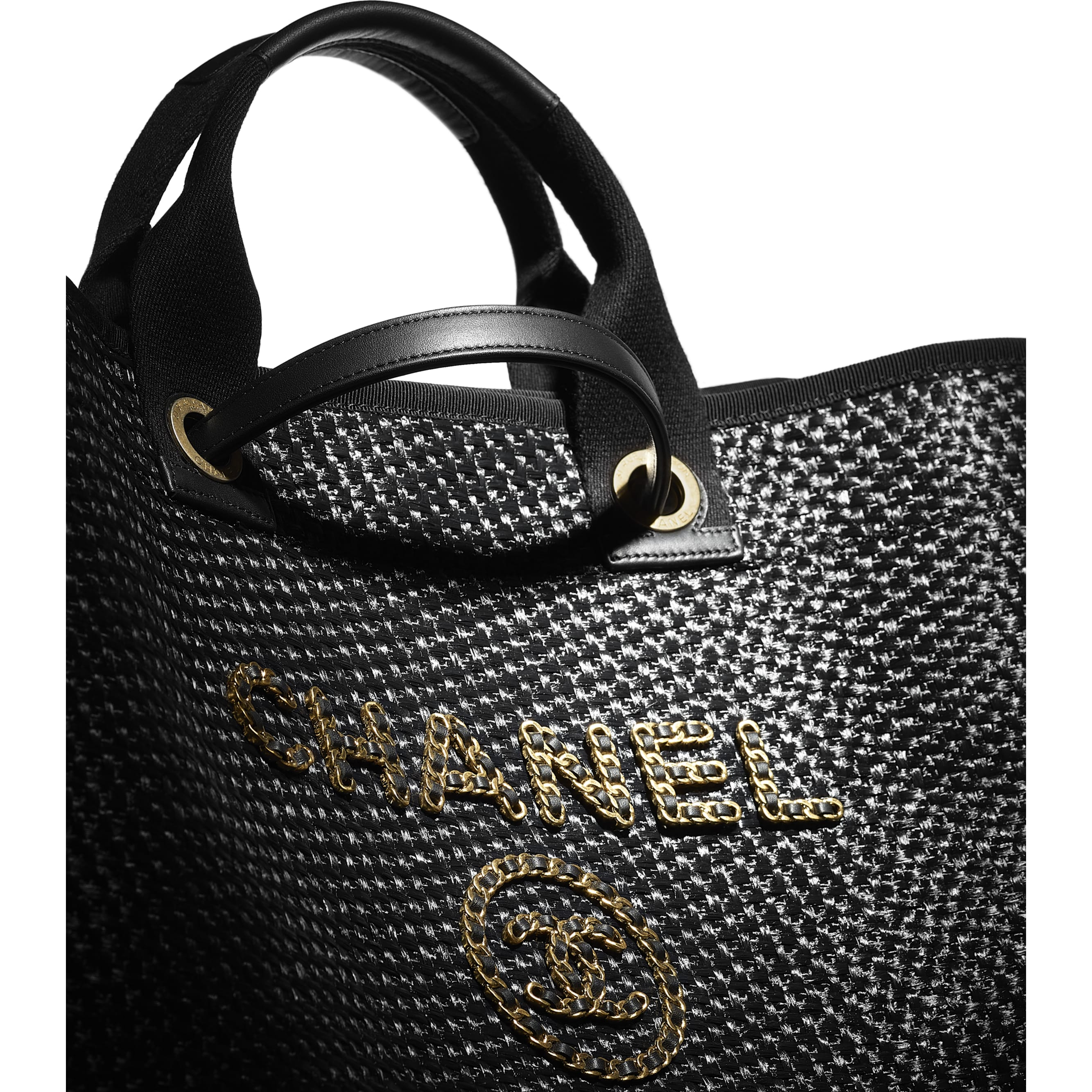 Large Tote - Black - Straw, Calfskin & Gold Metal - CHANEL - Extra view - see standard sized version