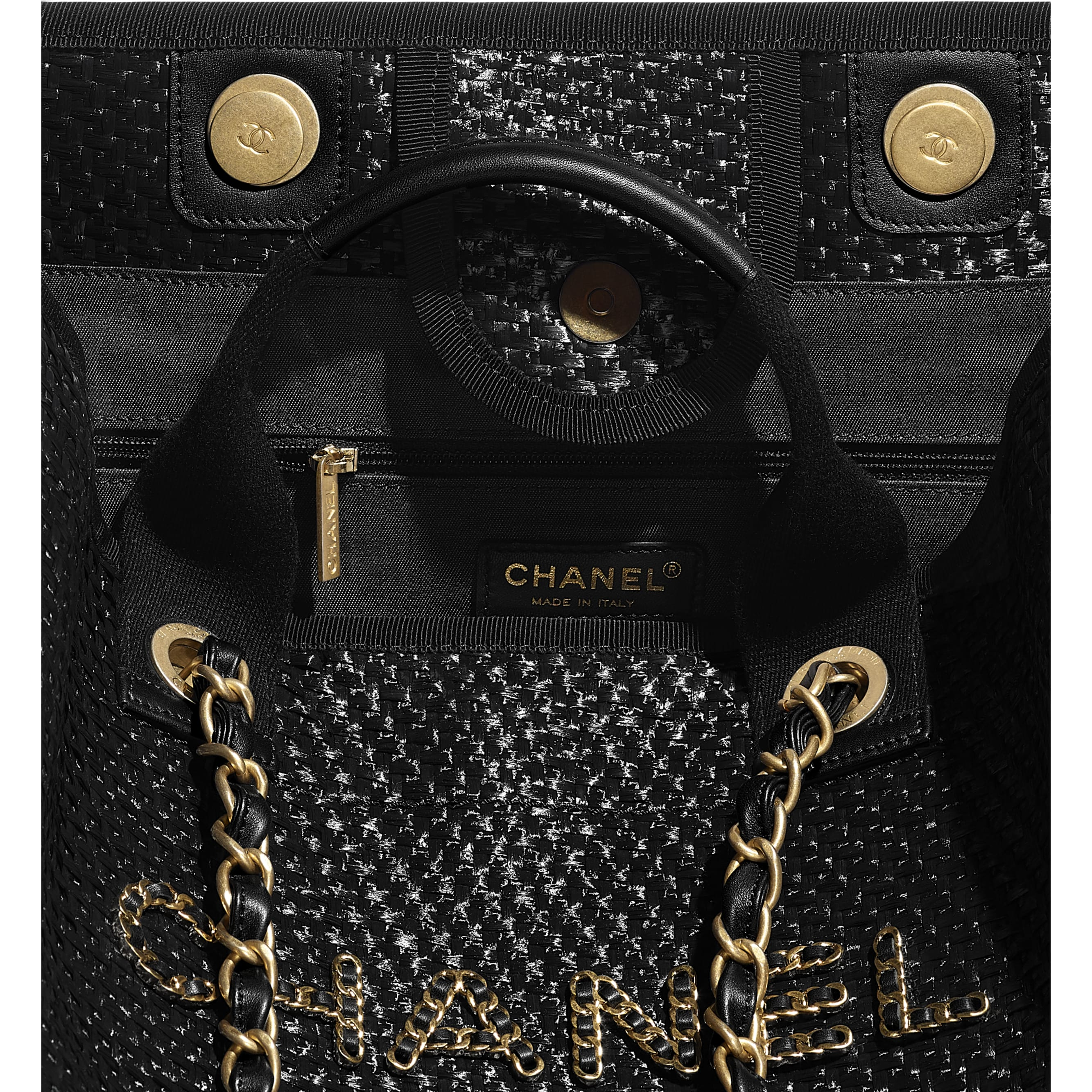Large Tote - Black - Straw, Calfskin & Gold Metal - CHANEL - Other view - see standard sized version