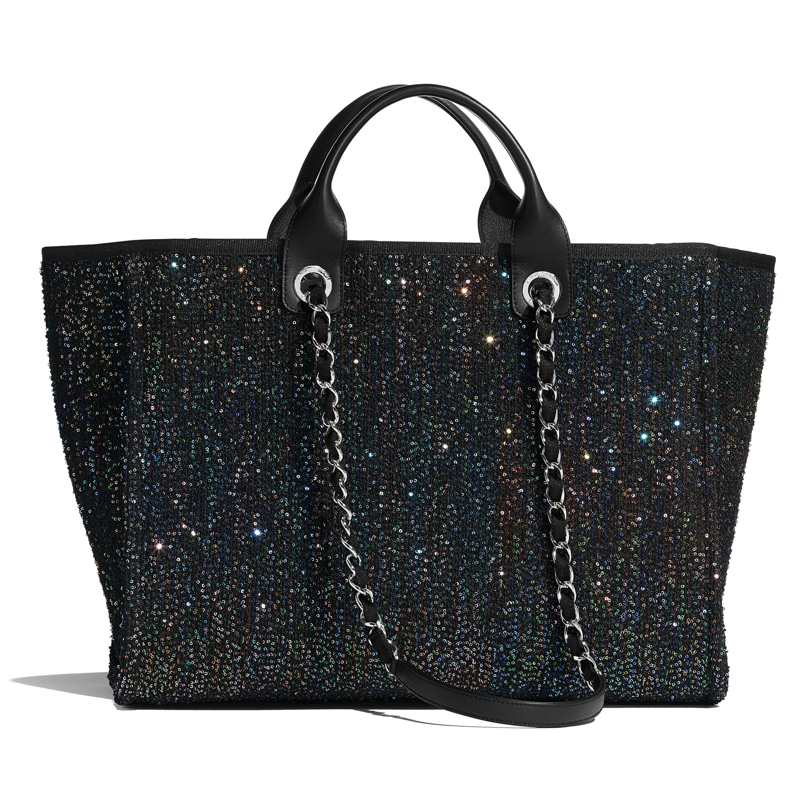 Large Tote - Black - Viscose, Calfskin, Sequins & Silver-Tone Metal - CHANEL - Alternative view - see standard sized version
