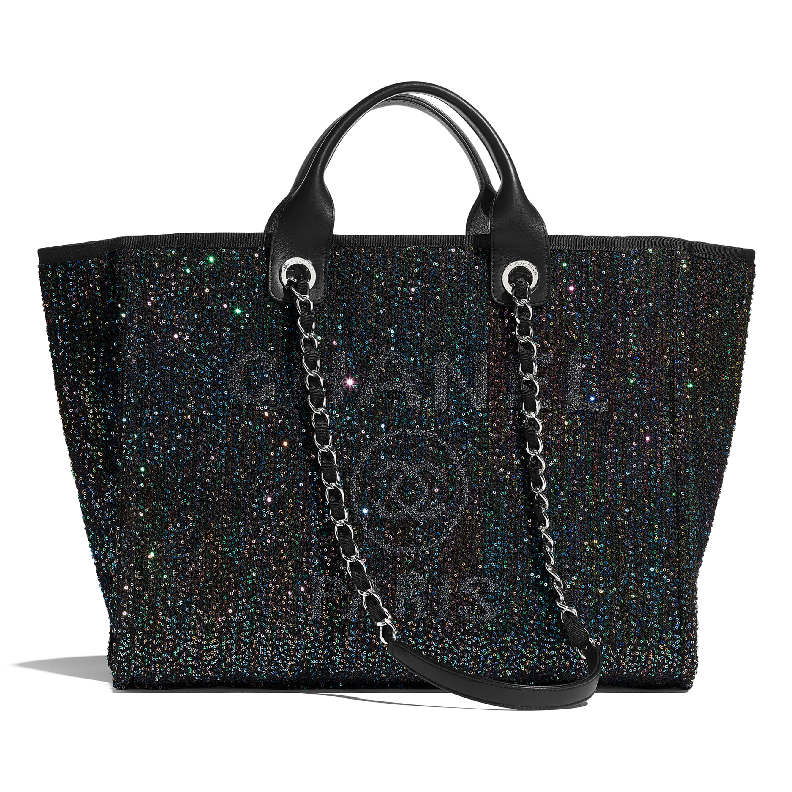 Large Tote - Black - Viscose, Calfskin, Sequins & Silver-Tone Metal - CHANEL - Default view - see standard sized version