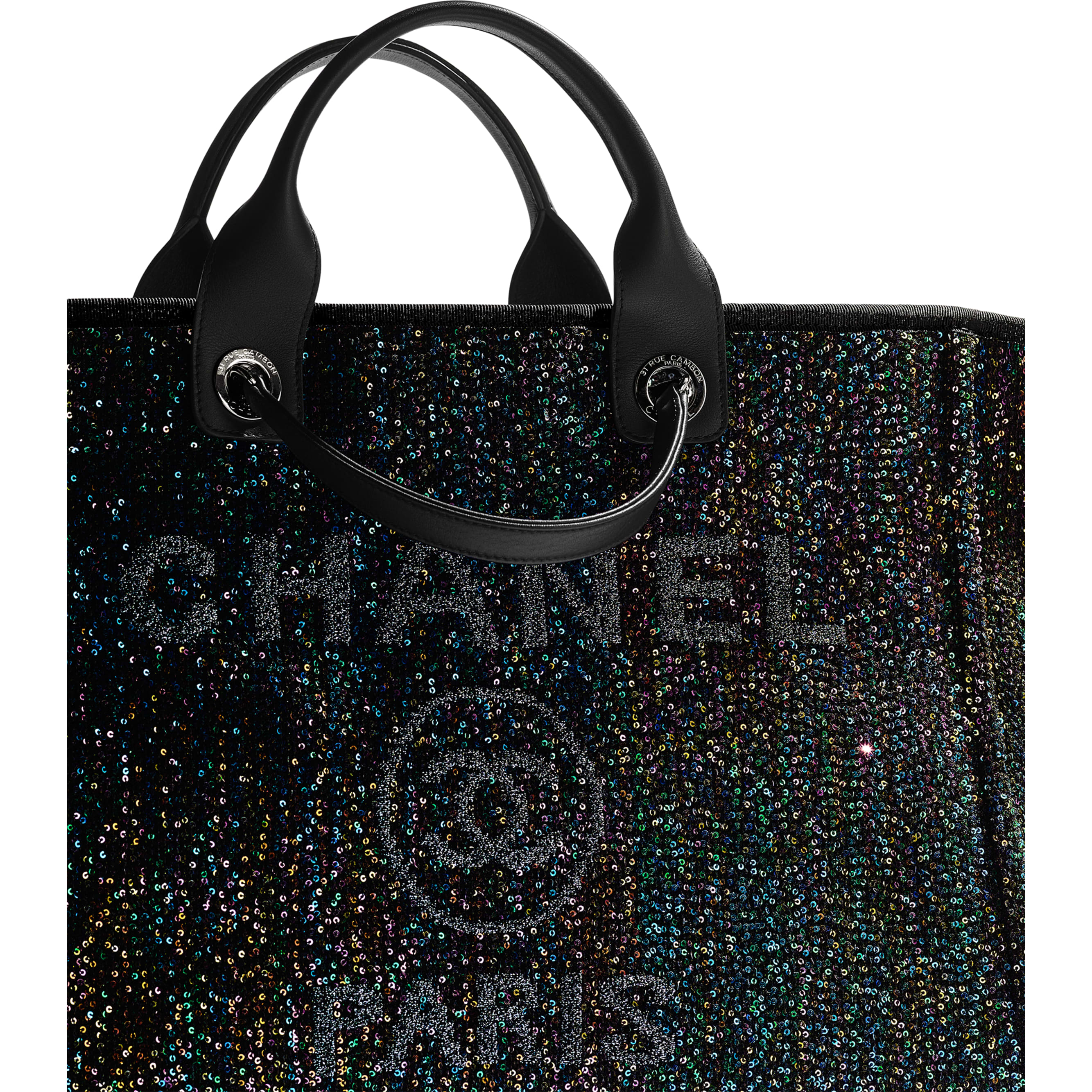 Large Tote - Black - Viscose, Calfskin, Sequins & Silver-Tone Metal - CHANEL - Extra view - see standard sized version