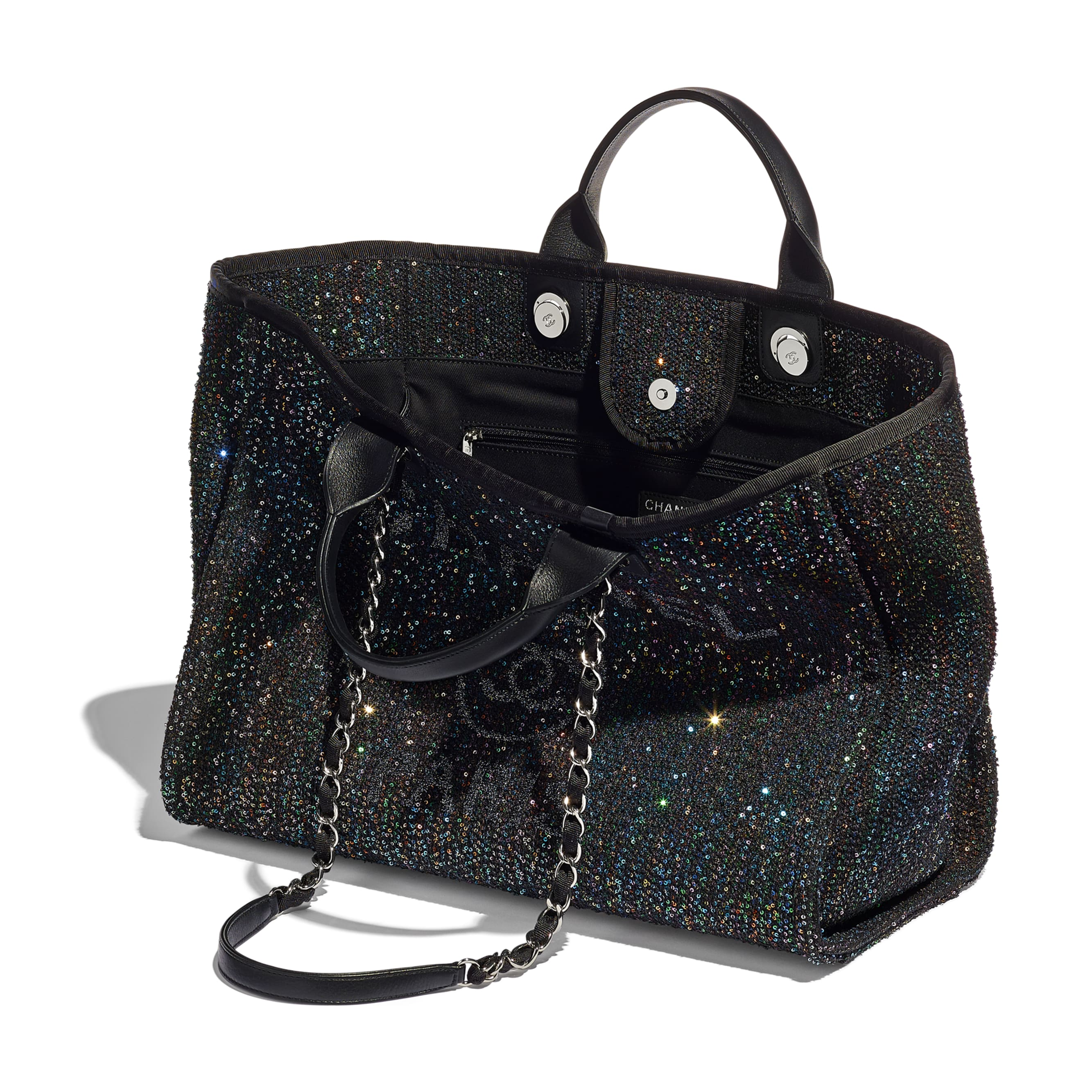 Large Tote - Black - Viscose, Calfskin, Sequins & Silver-Tone Metal - CHANEL - Other view - see standard sized version
