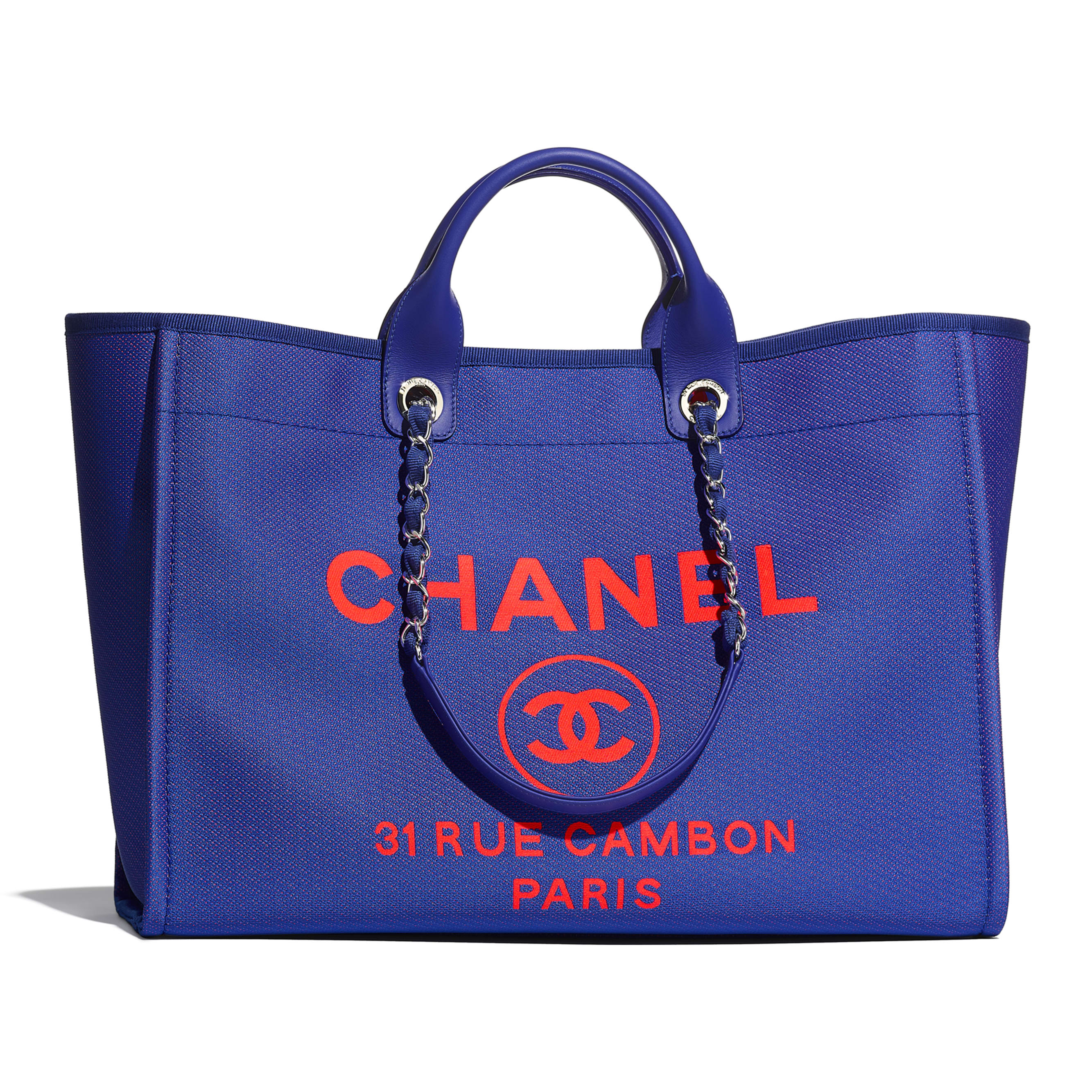 Large Tote - Blue & Orange - Mixed Fibers & Silver-Tone Metal - CHANEL - Default view - see standard sized version