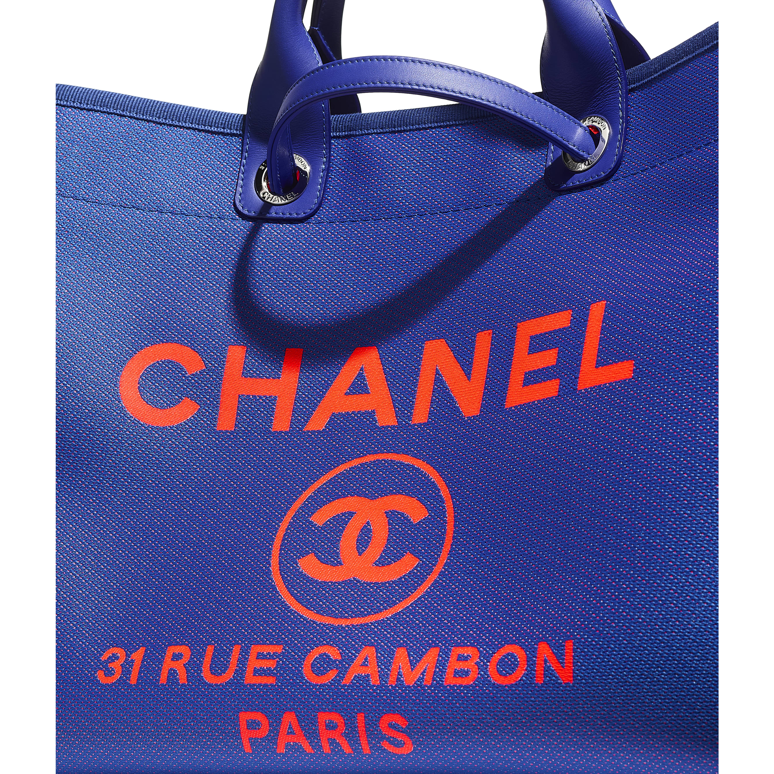 Large Tote - Blue & Orange - Mixed Fibers & Silver-Tone Metal - CHANEL - Extra view - see standard sized version