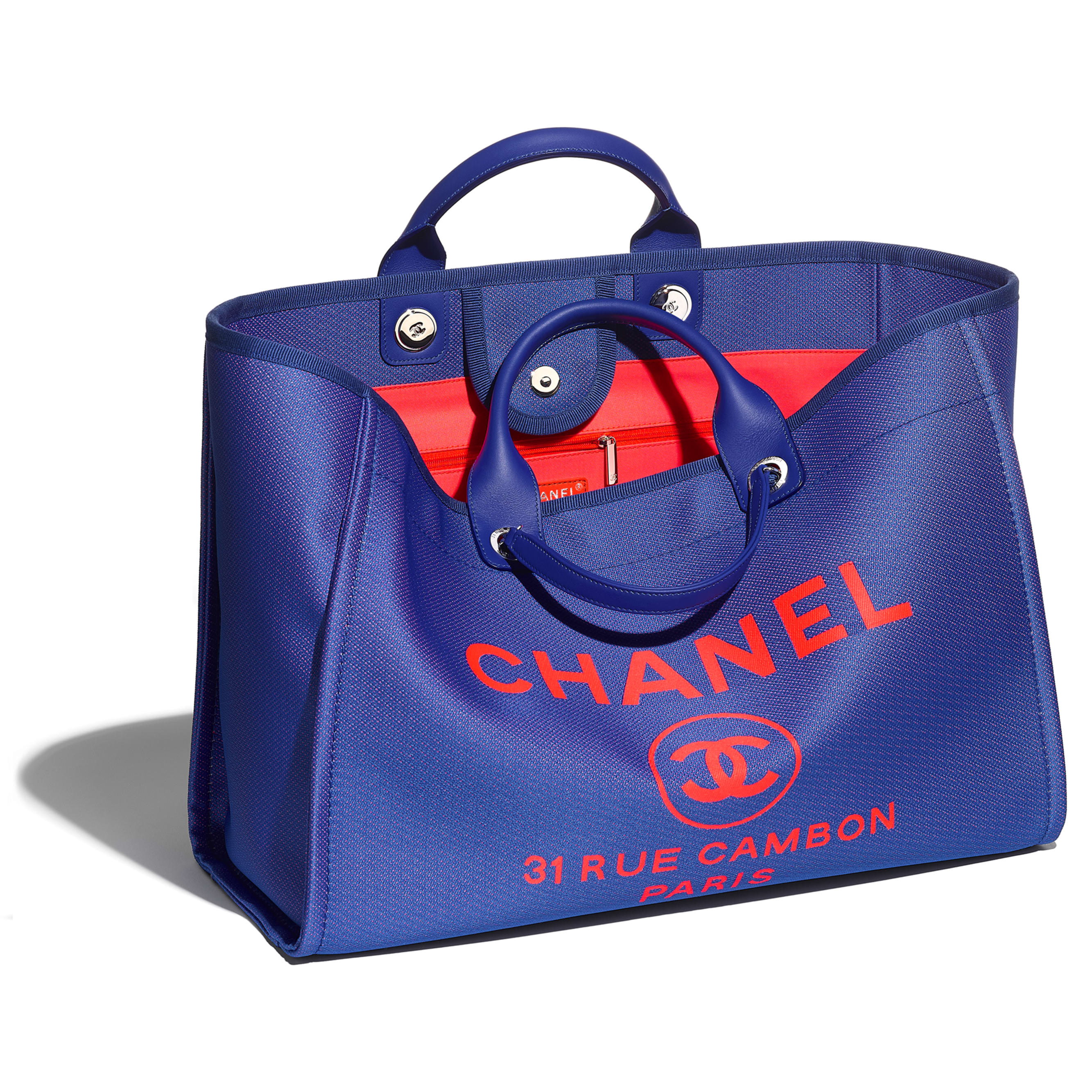 Large Tote - Blue & Orange - Mixed Fibers & Silver-Tone Metal - CHANEL - Other view - see standard sized version