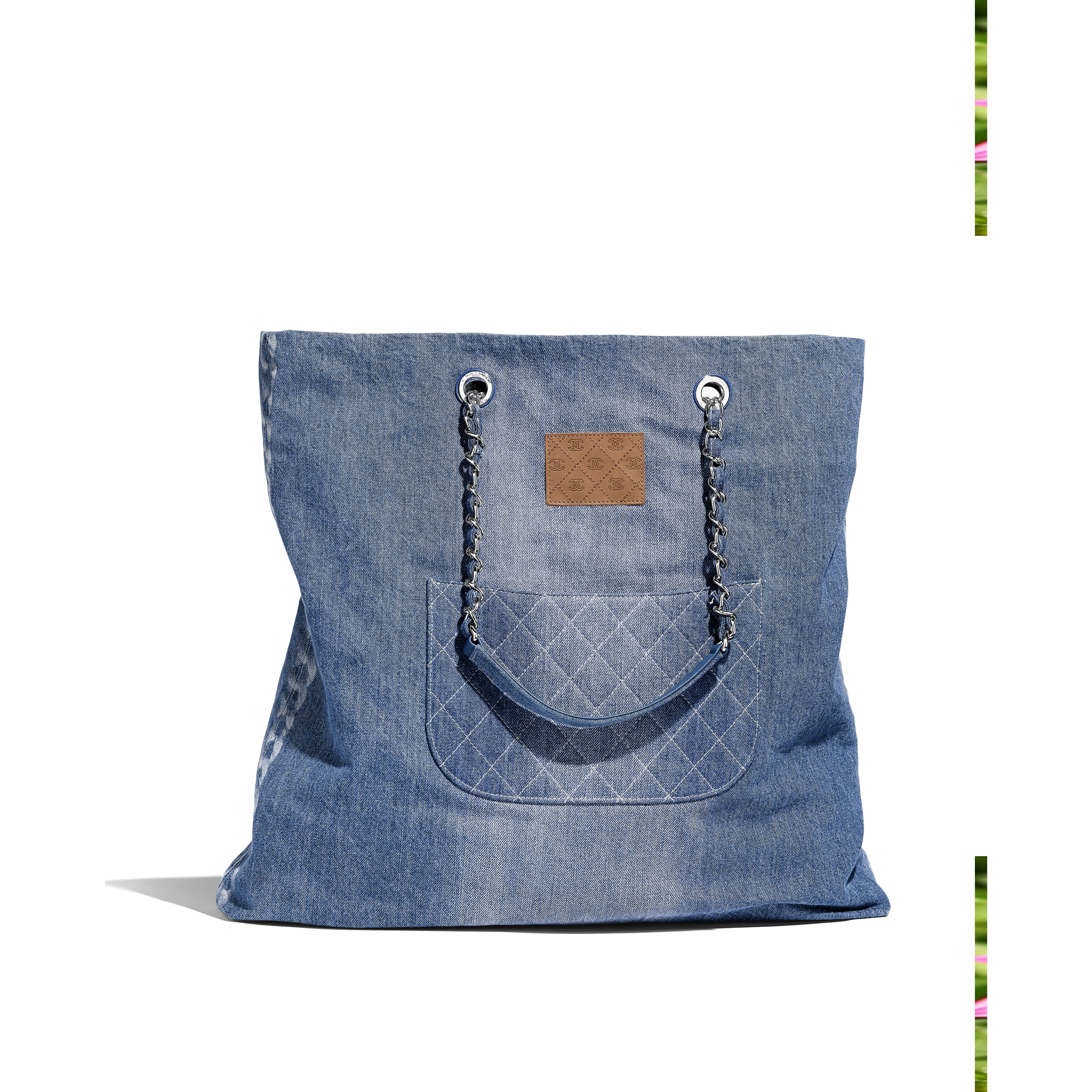 ... Large Shopping Bag - Blue - Printed Denim   Silver-Tone Metal -  Alternative view 70f3f9919a792