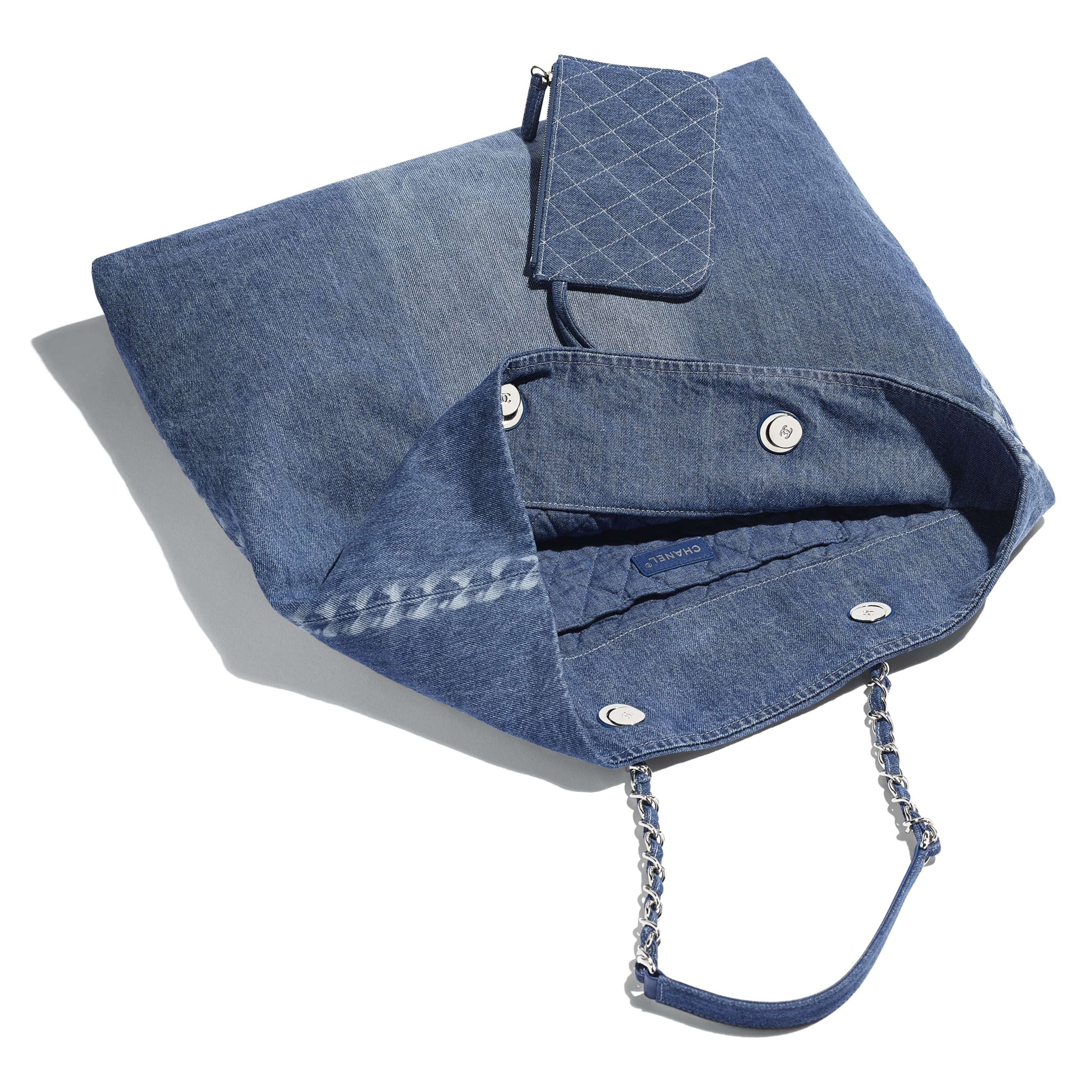 ... Large Shopping Bag - Blue - Printed Denim   Silver-Tone Metal - Other  view 5fcf7fe094958