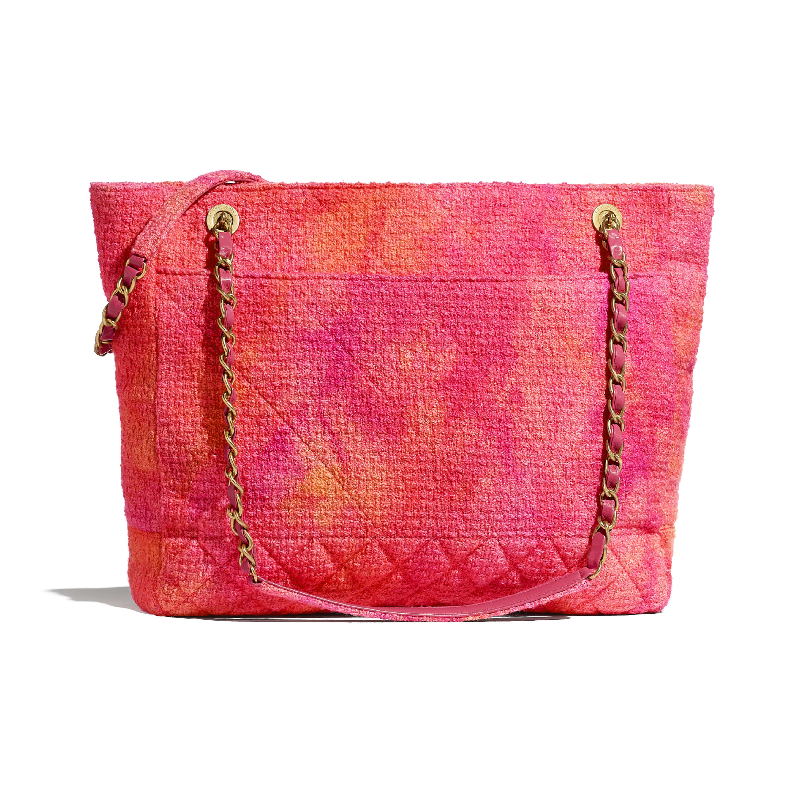 Large Tote - Coral, Pink & Orange - Cotton Tweed & Gold-Tone Metal - CHANEL - Alternative view - see standard sized version