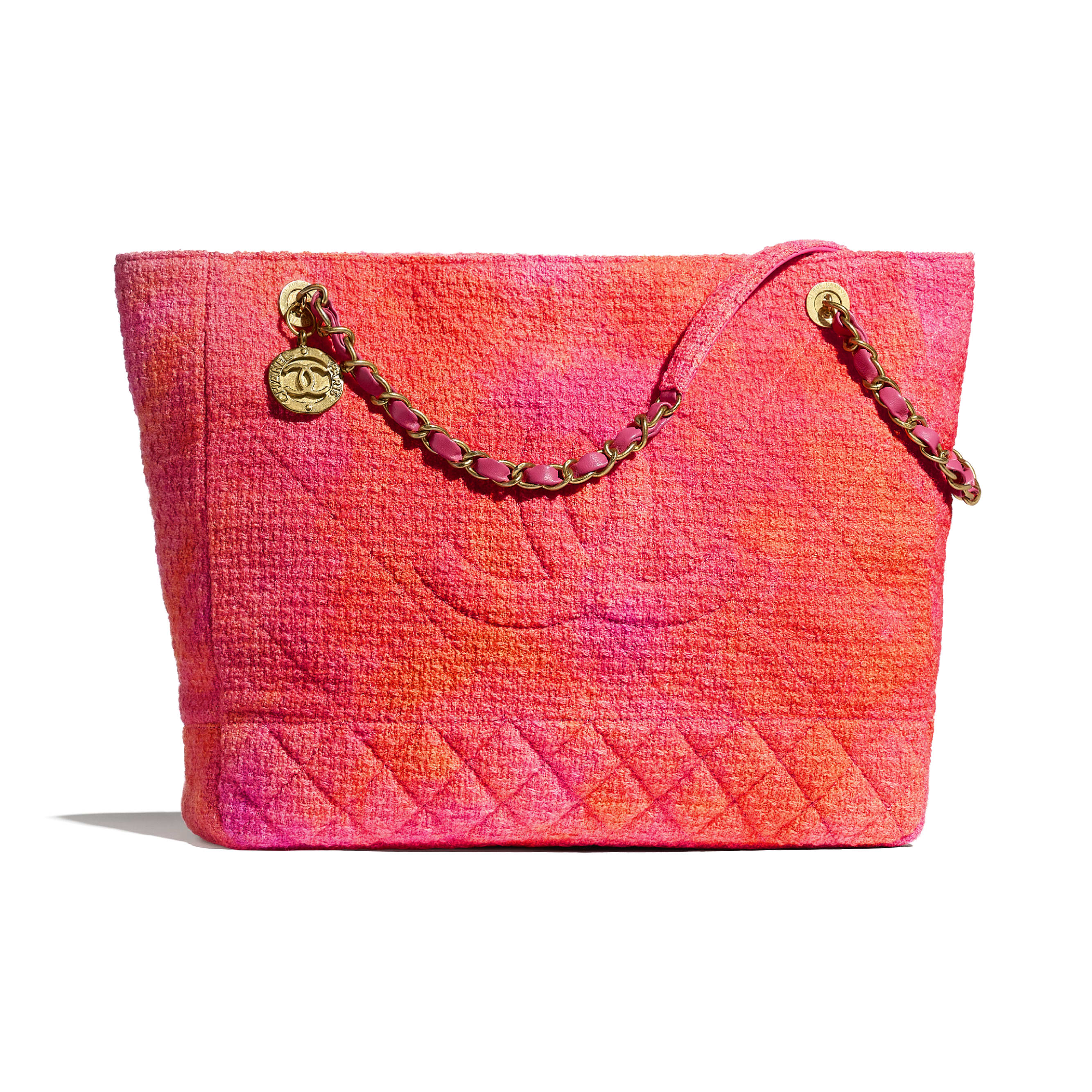 Large Tote - Coral, Pink & Orange - Cotton Tweed & Gold-Tone Metal - CHANEL - Default view - see standard sized version