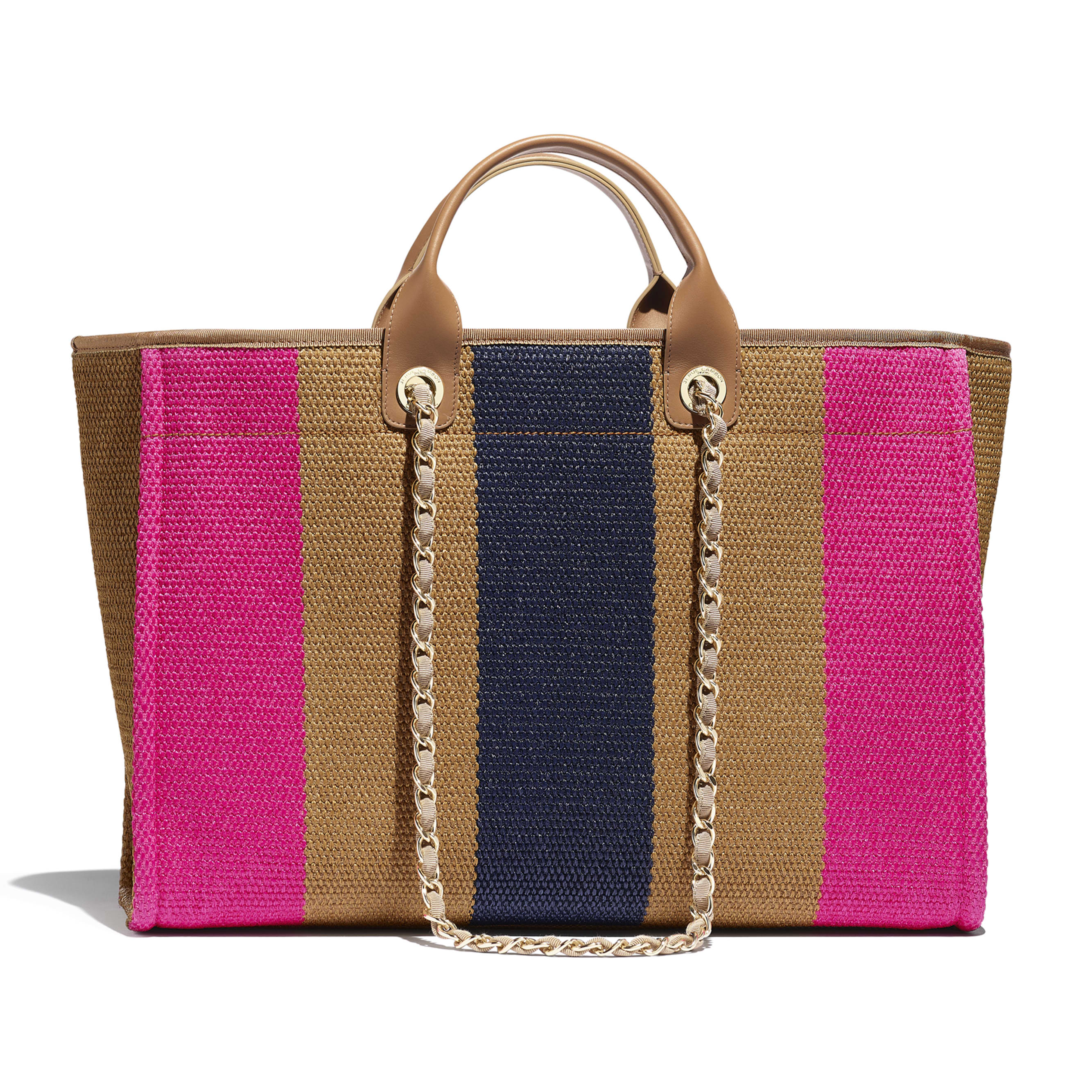 Large Tote - Dark Beige, Fuchsia & Navy Blue - Viscose, Cotton, Calfskin & Gold-Tone Metal - Alternative view - see standard sized version