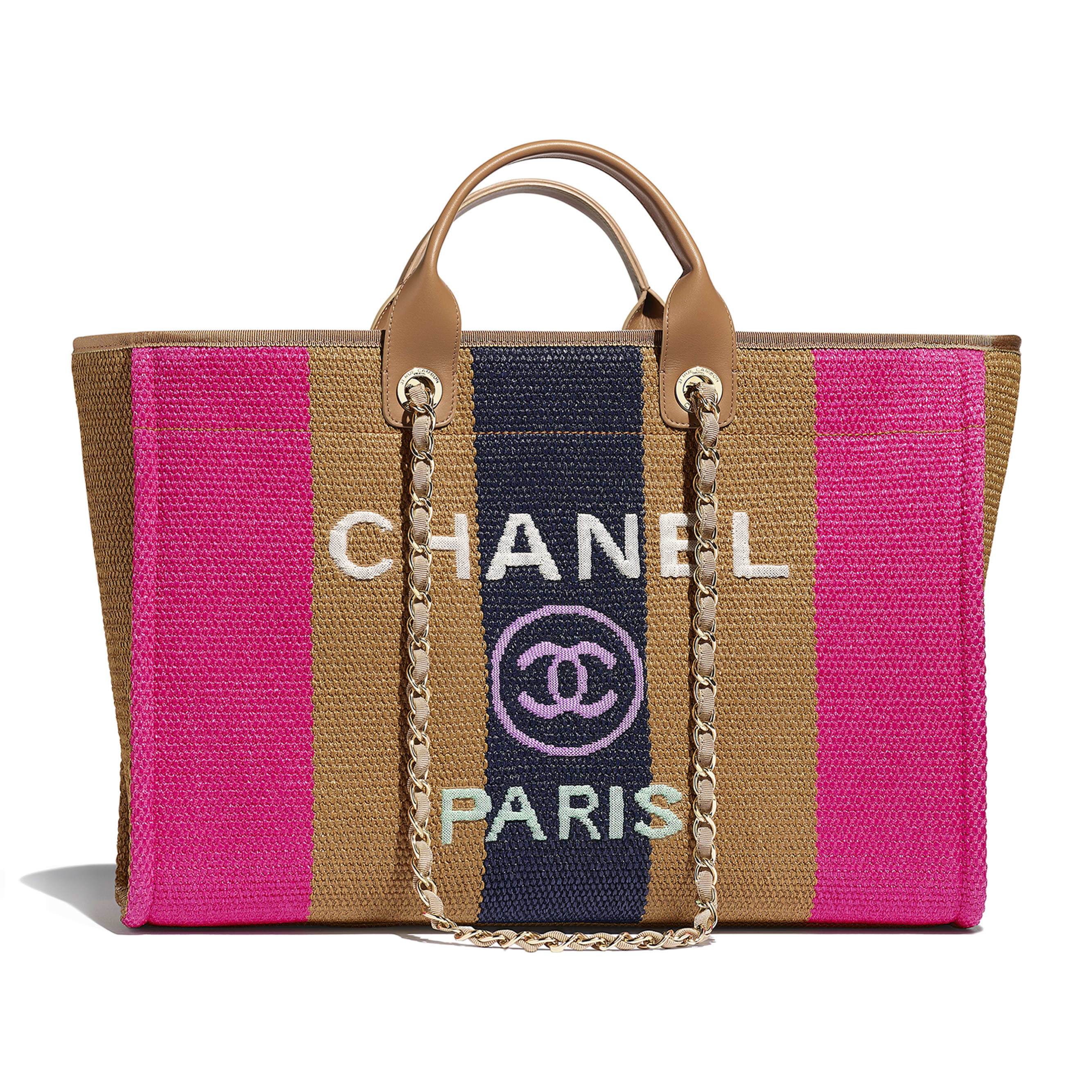 Large Tote - Dark Beige, Fuchsia & Navy Blue - Viscose, Cotton, Calfskin & Gold-Tone Metal - Default view - see standard sized version