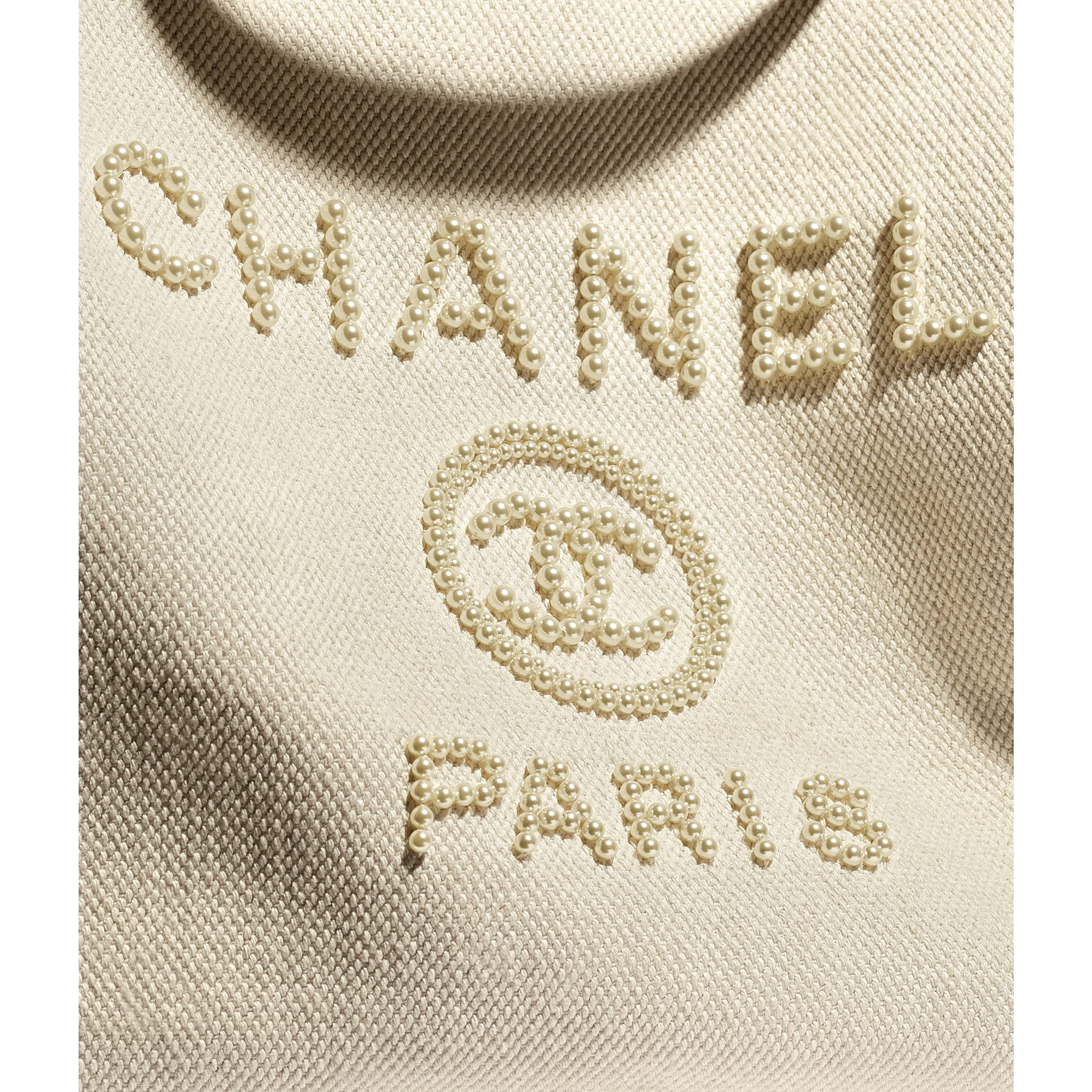 Large Tote - Ecru & Beige - Mixed Fibers, Imitation Pearls & Gold-Tone Metal - CHANEL - Extra view - see standard sized version
