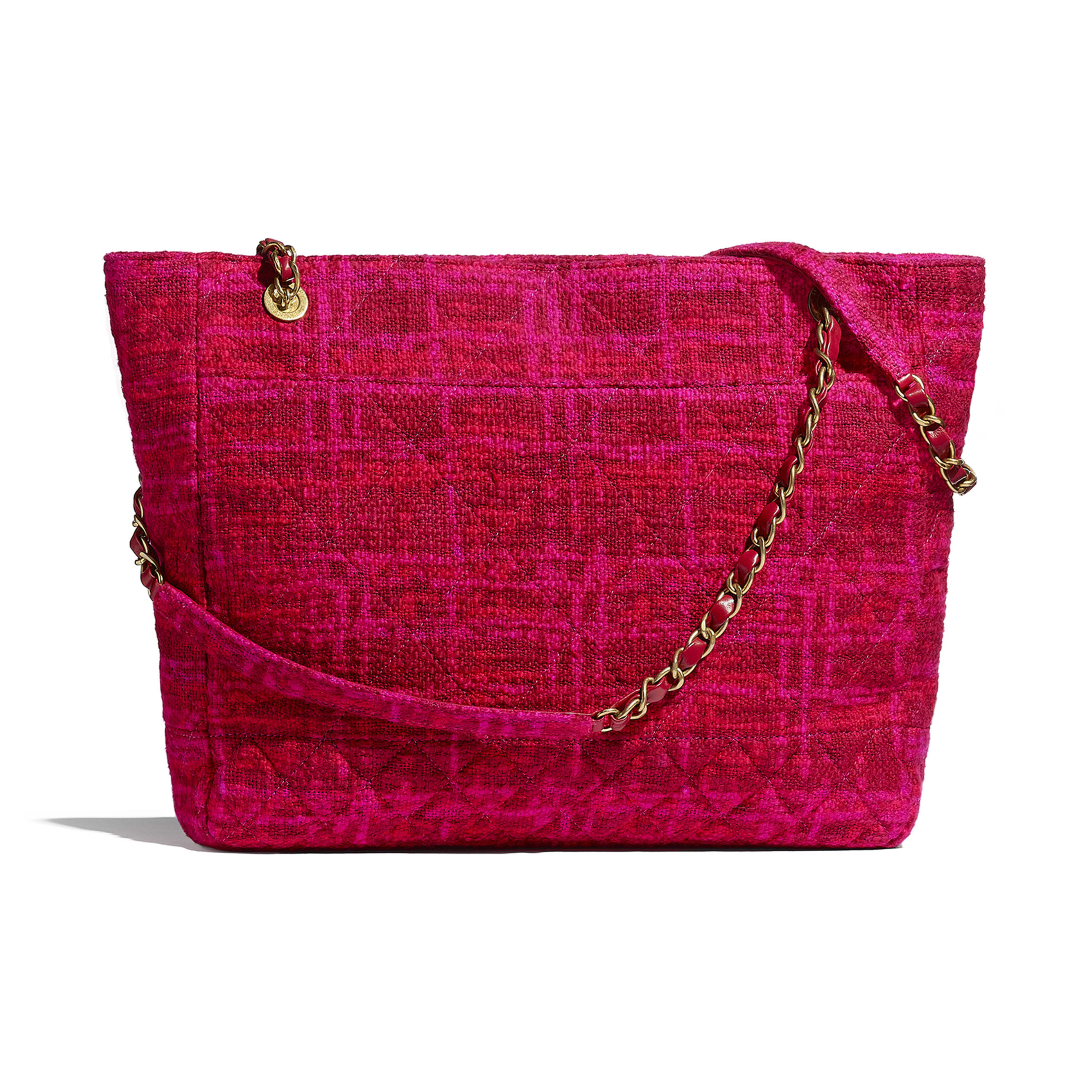 Large Shopping Bag - Fuchsia & Red - Cotton Tweed & Gold-Tone Metal - CHANEL - Alternative view - see standard sized version