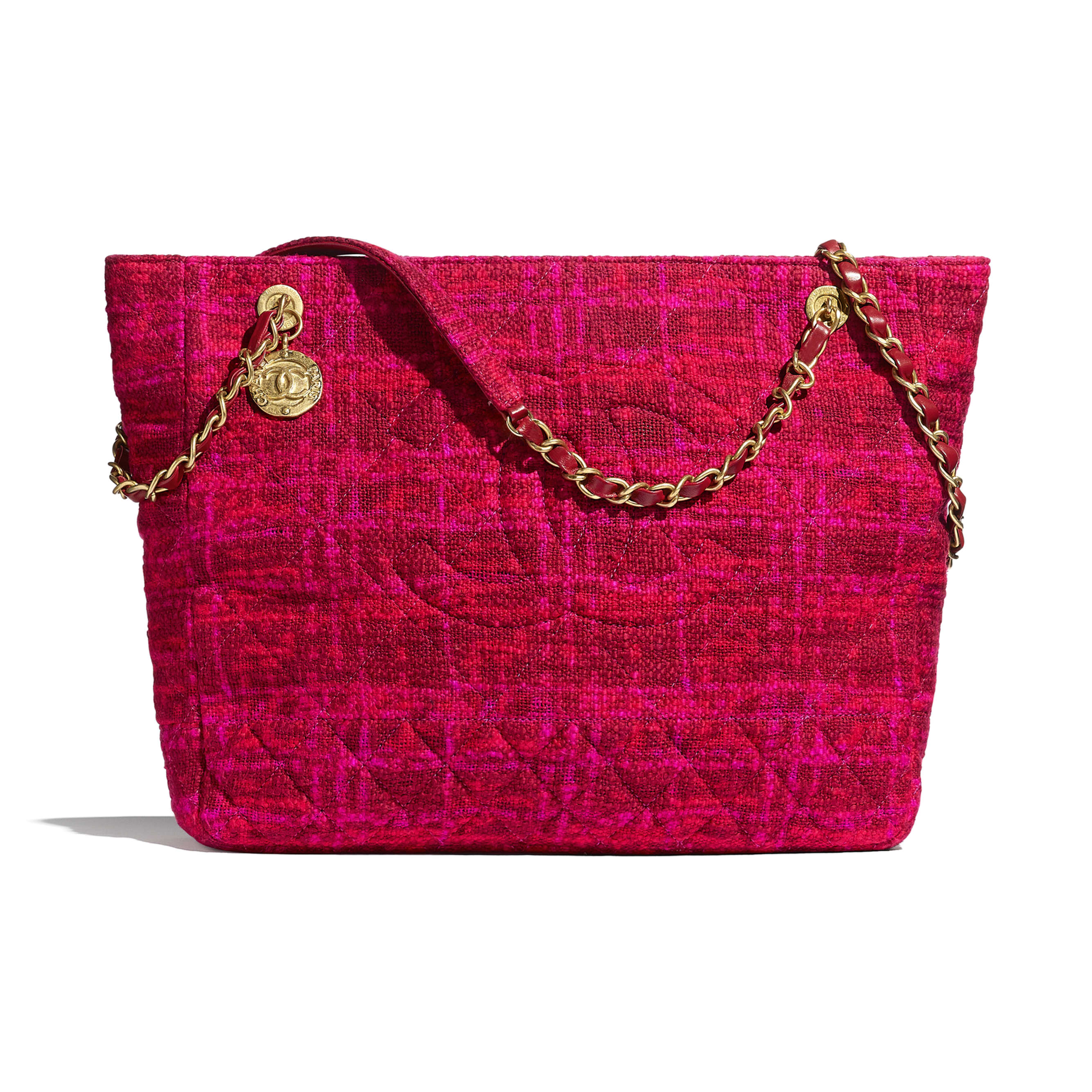Large Shopping Bag - Fuchsia & Red - Cotton Tweed & Gold-Tone Metal - CHANEL - Default view - see standard sized version