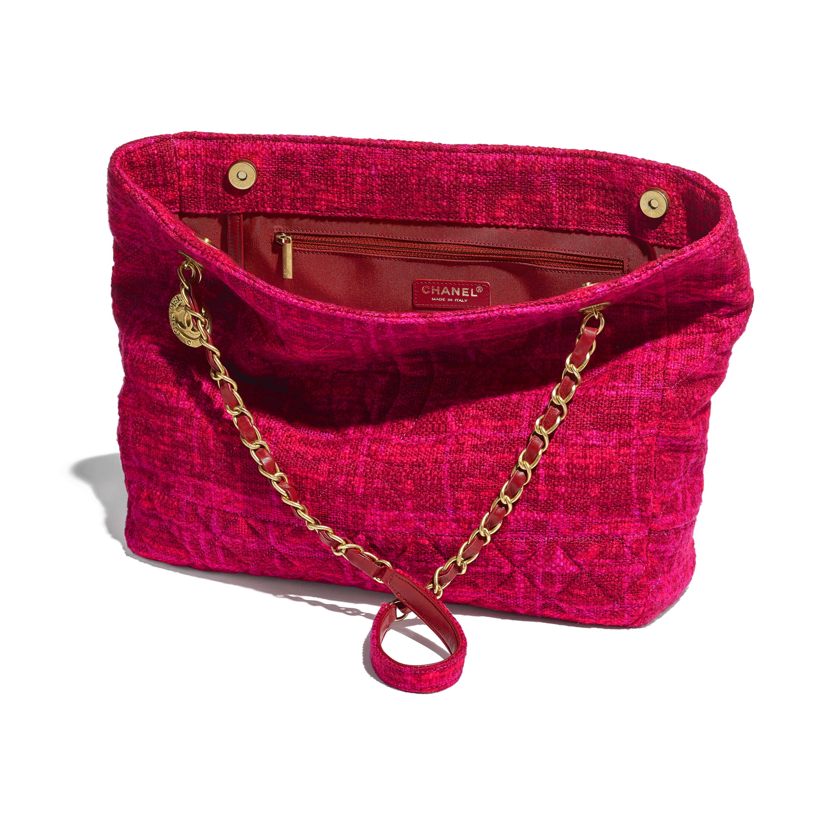 Large Shopping Bag - Fuchsia & Red - Cotton Tweed & Gold-Tone Metal - CHANEL - Other view - see standard sized version