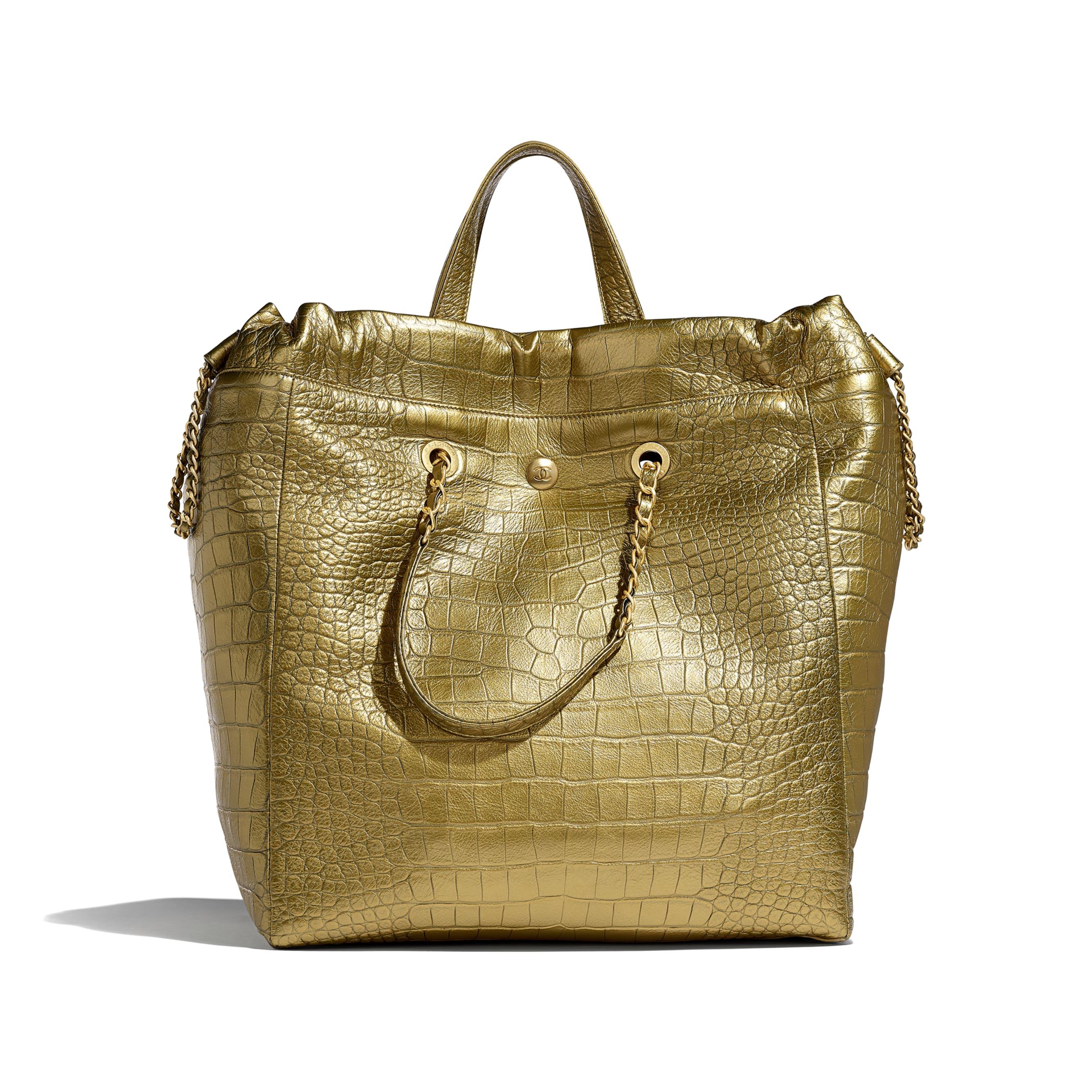 Large Shopping Bag - Gold - Metallic Crocodile Embossed Calfskin & Gold Metal - Alternative view - see standard sized version