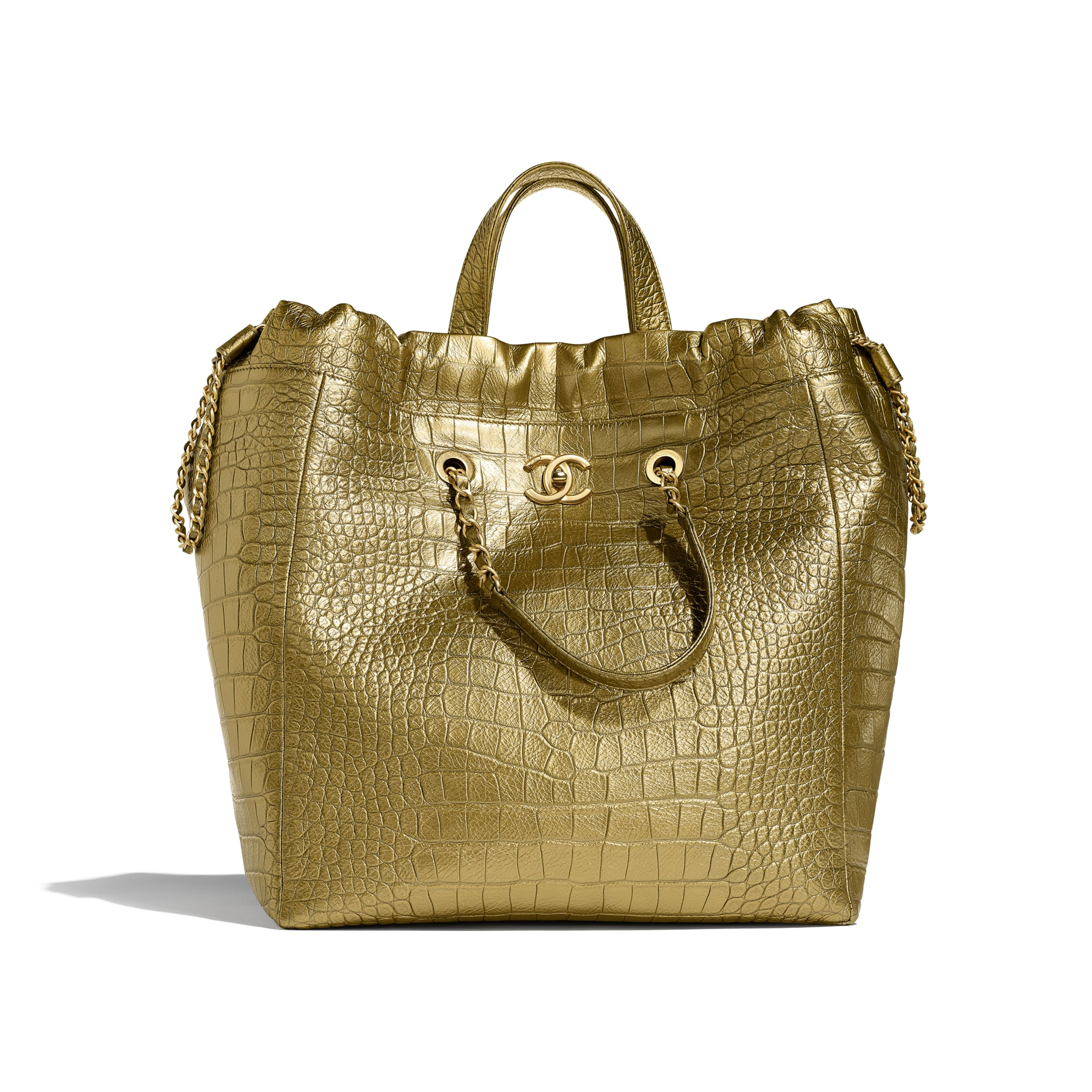 Large Shopping Bag - Gold - Metallic Crocodile Embossed Calfskin & Gold Metal - Default view - see standard sized version