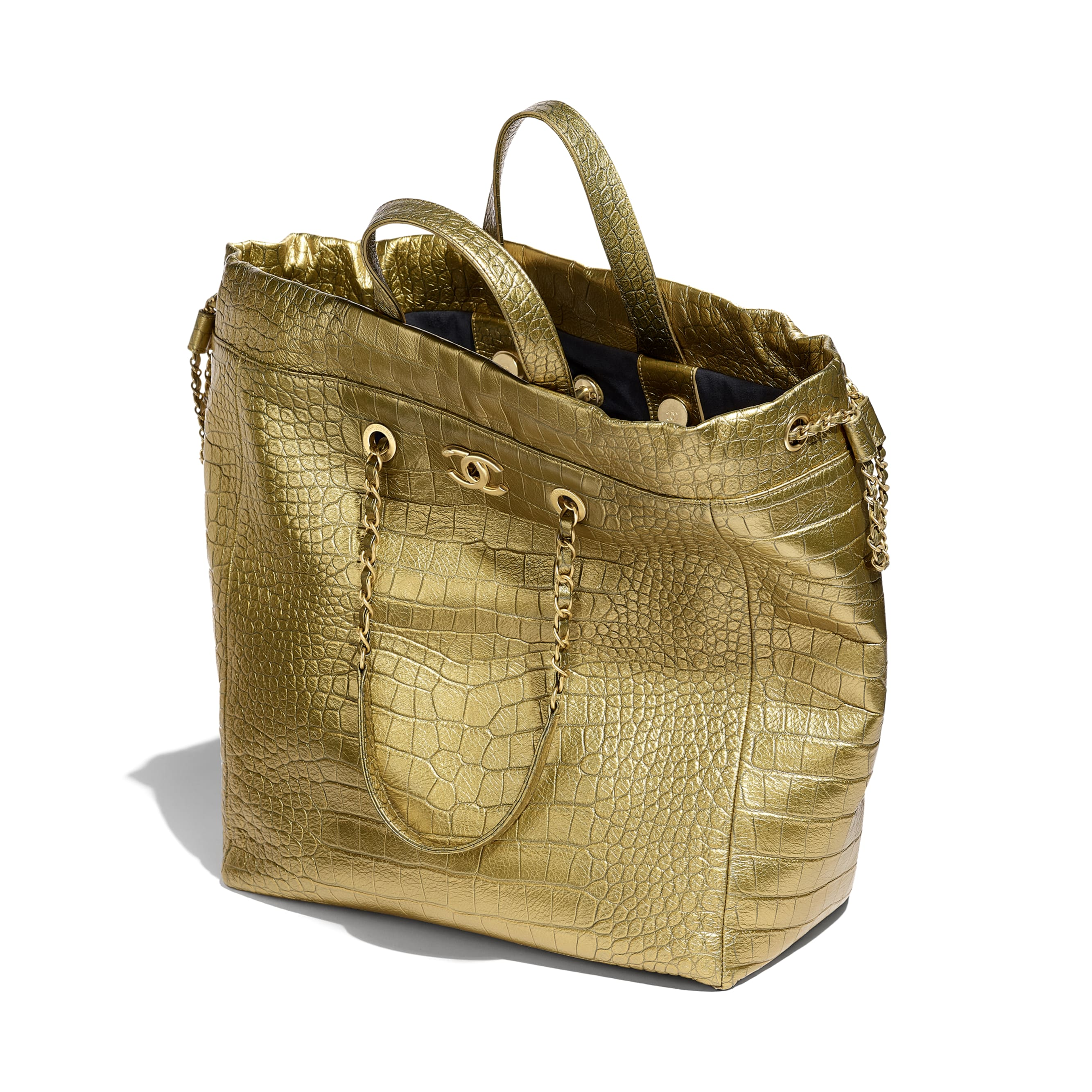 Large Shopping Bag - Gold - Metallic Crocodile Embossed Calfskin & Gold Metal - Other view - see standard sized version