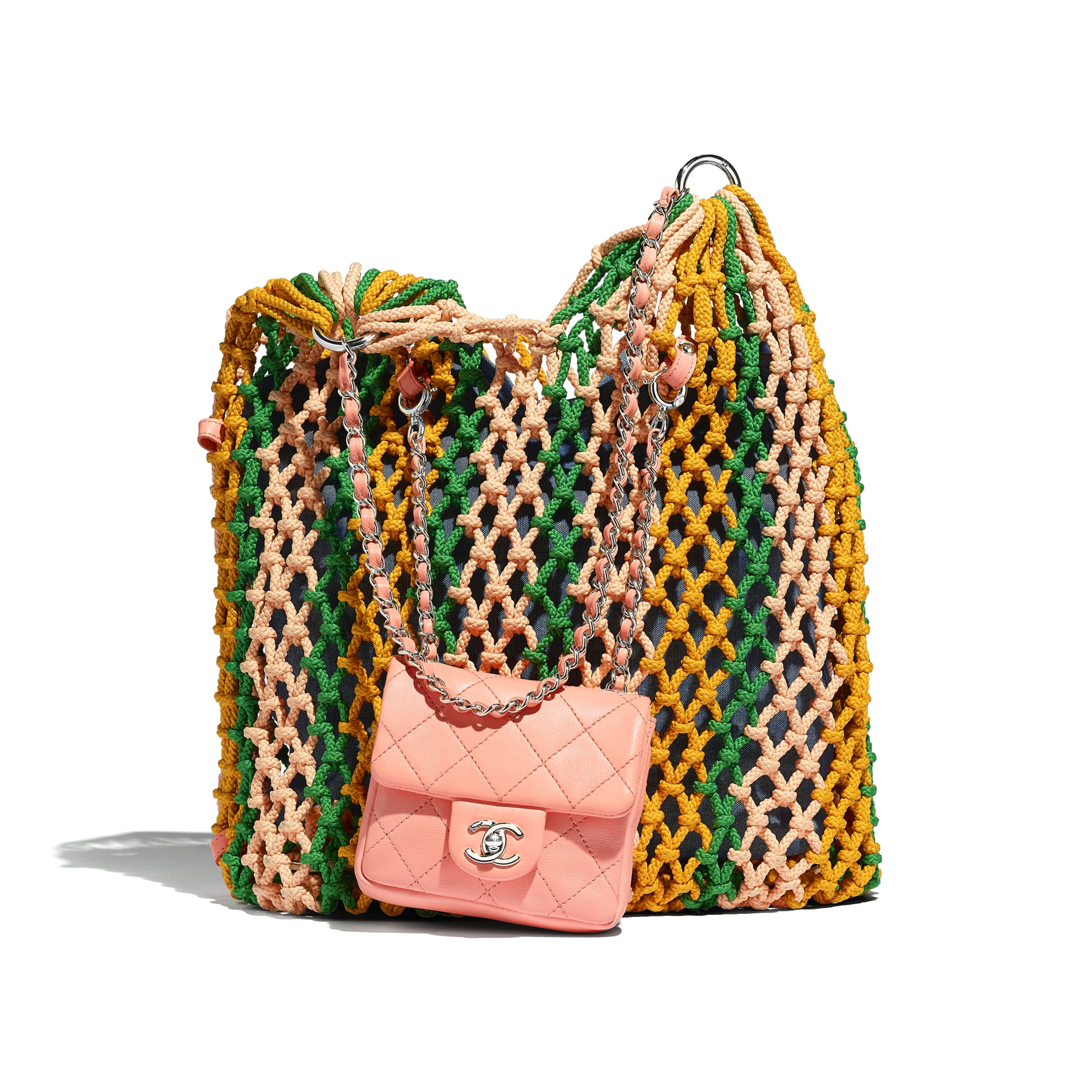Large Shopping Bag - Green, Orange & Pink - Mixed Fibers, Lambskin & Silver-Tone Metal - Default view - see standard sized version
