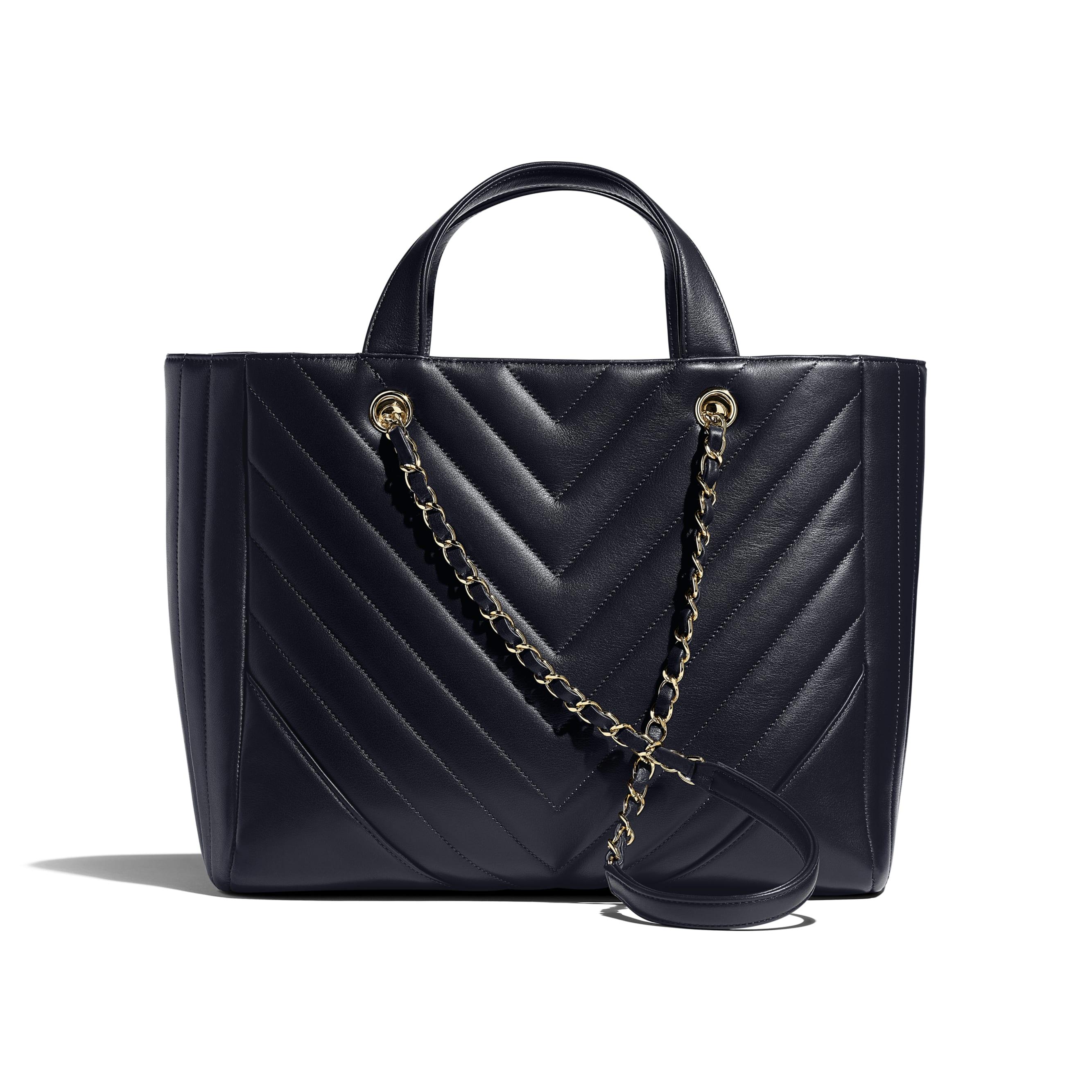 Large Shopping Bag - Navy Blue - Calfskin & Gold-Tone Metal - Alternative view - see standard sized version