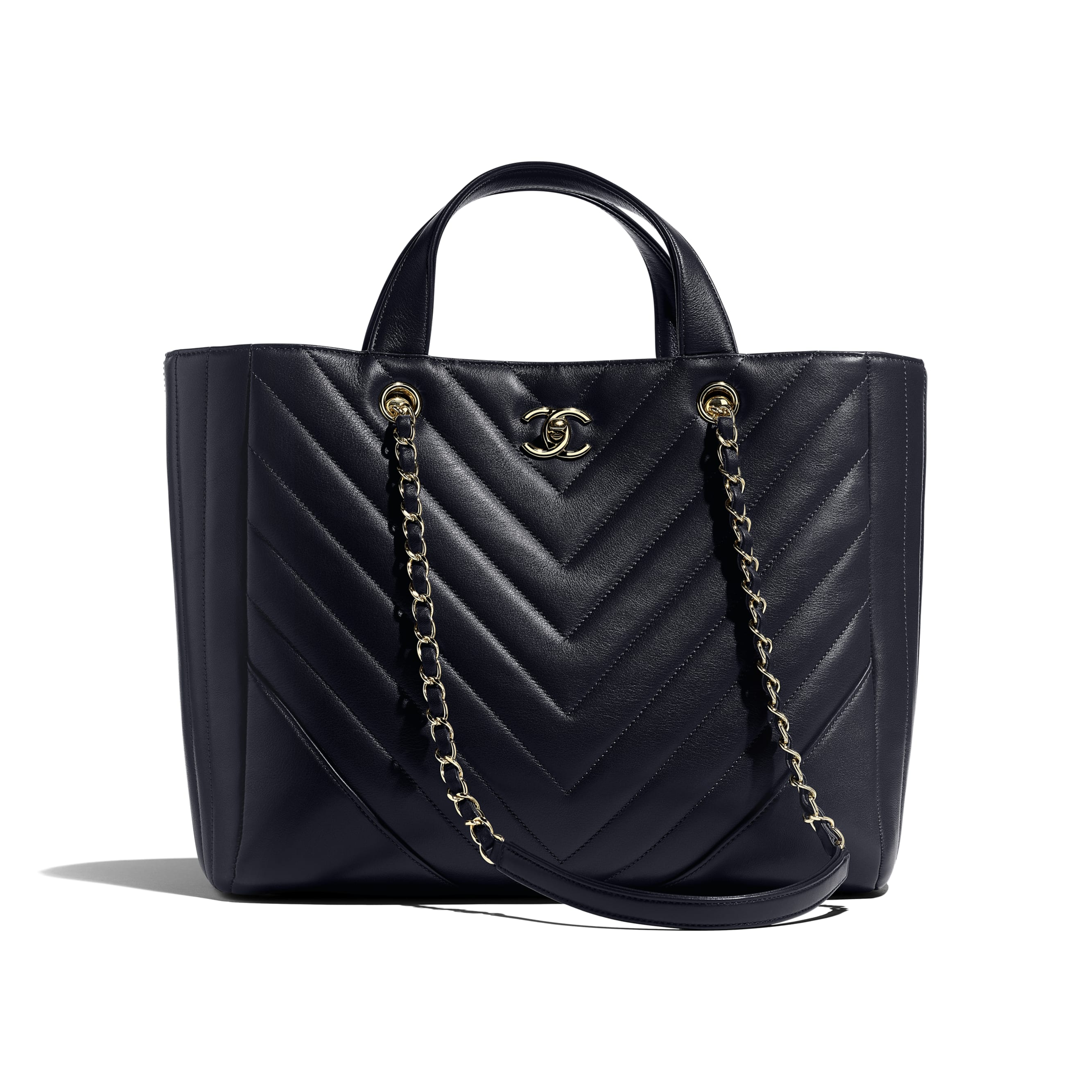 Large Shopping Bag - Navy Blue - Calfskin & Gold-Tone Metal - Default view - see standard sized version