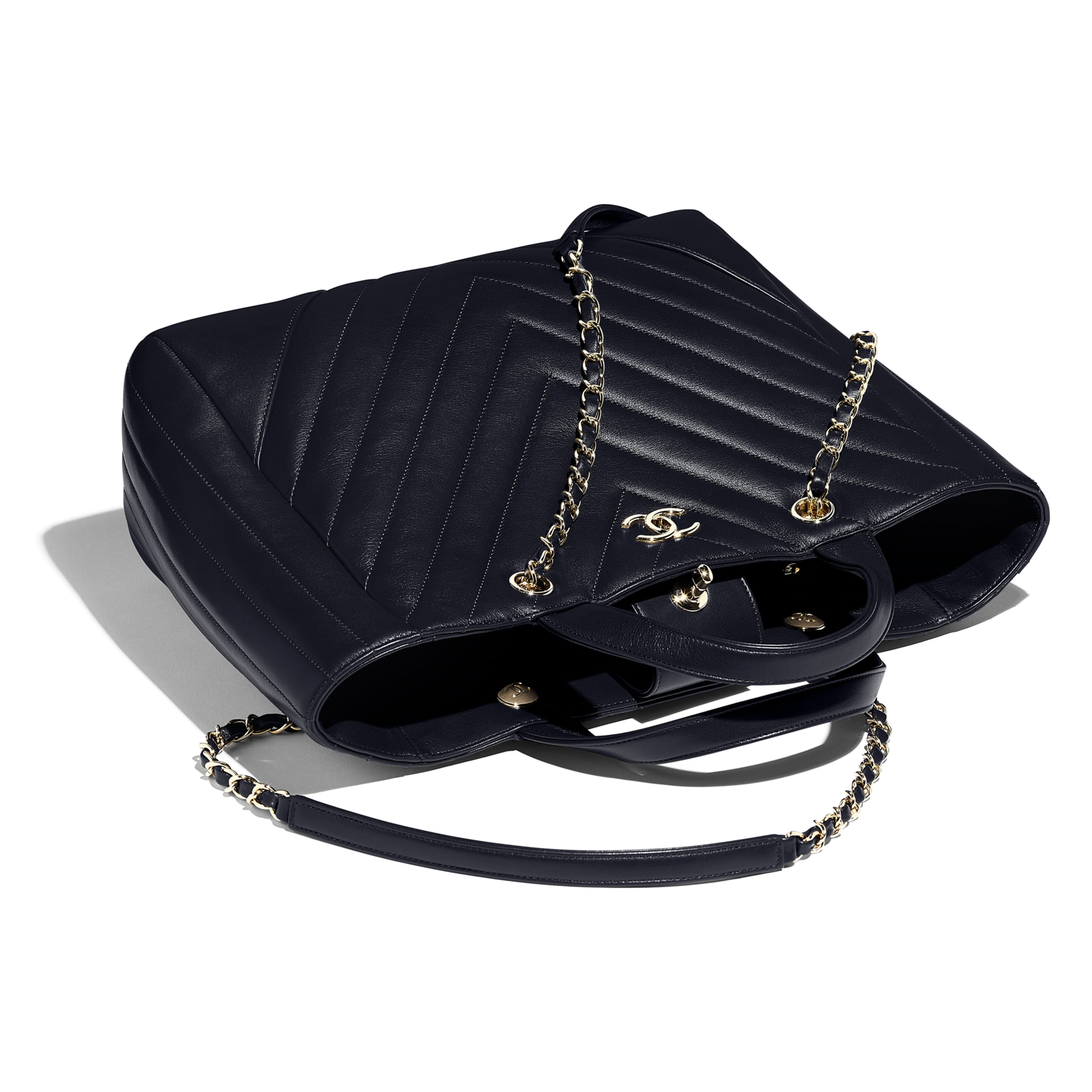Large Shopping Bag - Navy Blue - Calfskin & Gold-Tone Metal - Other view - see standard sized version