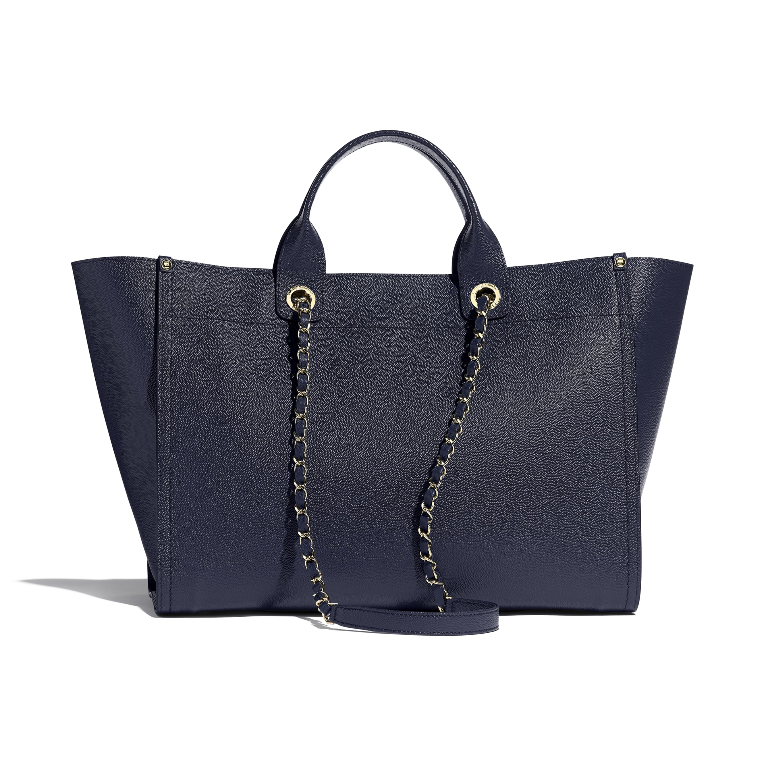 Large Shopping Bag - Navy Blue - Grained Calfskin & Gold-Tone Metal - CHANEL - Alternative view - see standard sized version